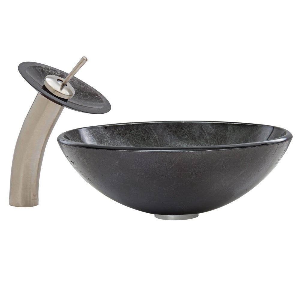 Shop VIGO Gray Onyx Glass Vessel Sink and Waterfall Faucet Set in ...