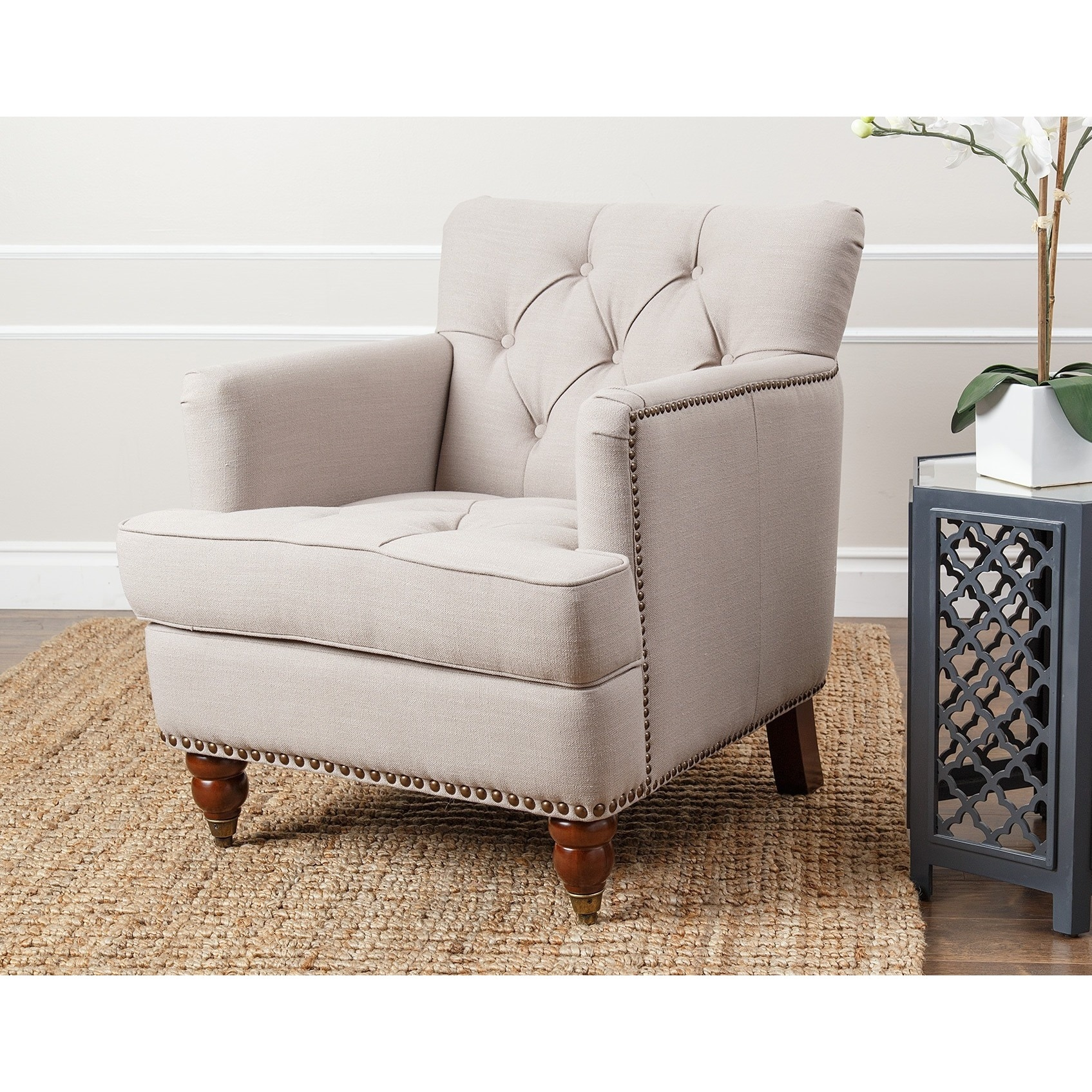 Shop Abbyson Tafton Beige Linen Club Chair   On Sale   Free Shipping Today    Overstock.com   9812390