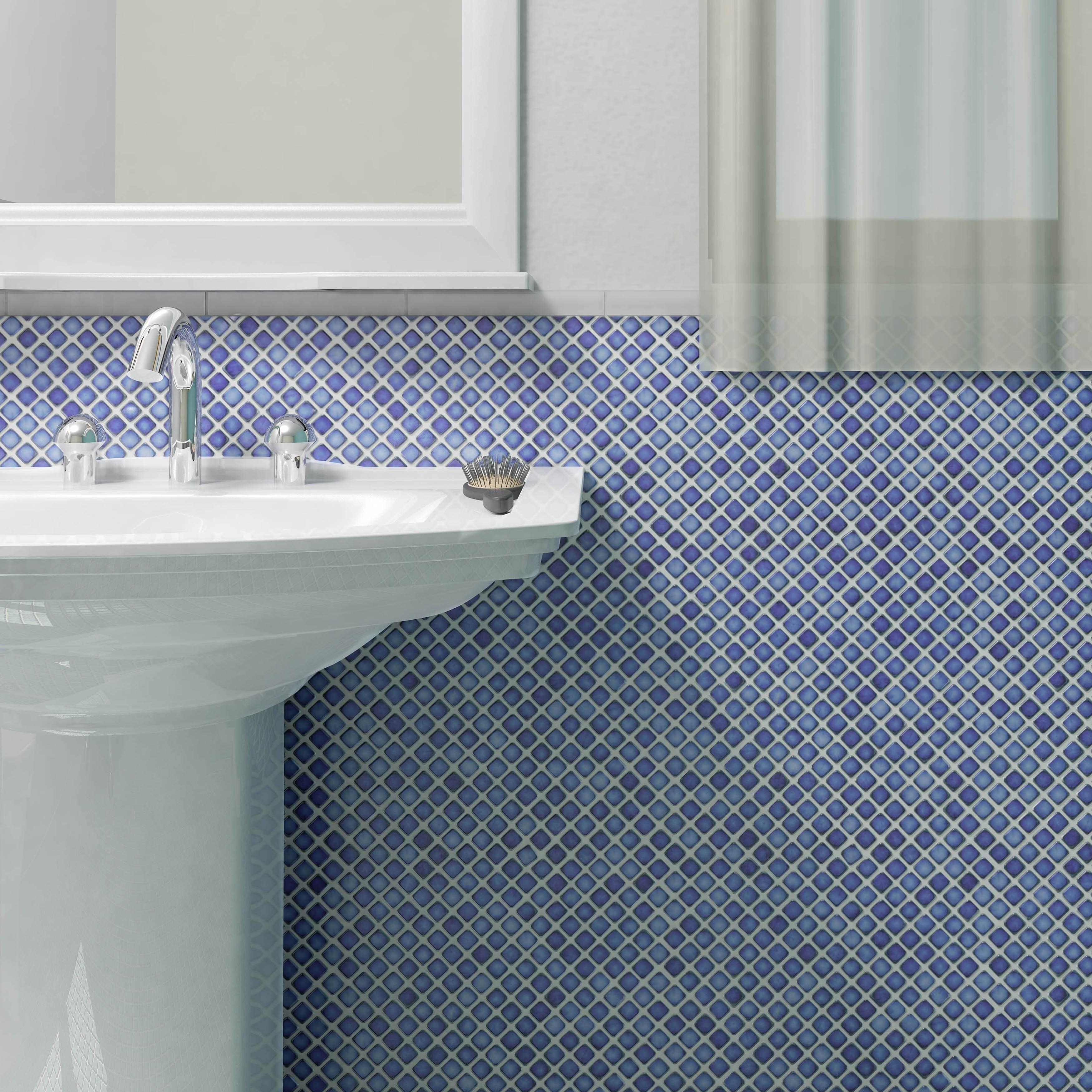 Shop SomerTile 12.375x12.375-inch Jewel Sapphire Porcelain Mosaic ...