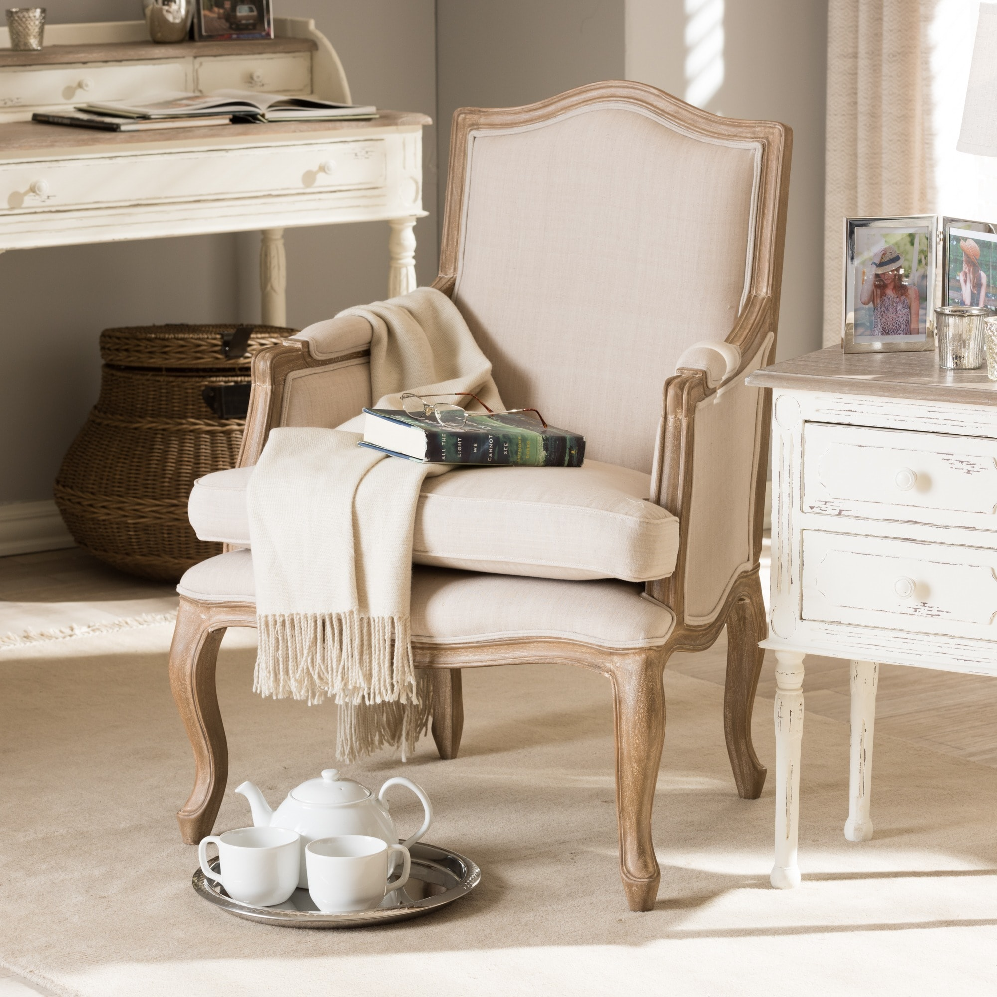Shop Nivernais Wood Traditional French Accent Chair   Free Shipping Today    Overstock.com   9812487