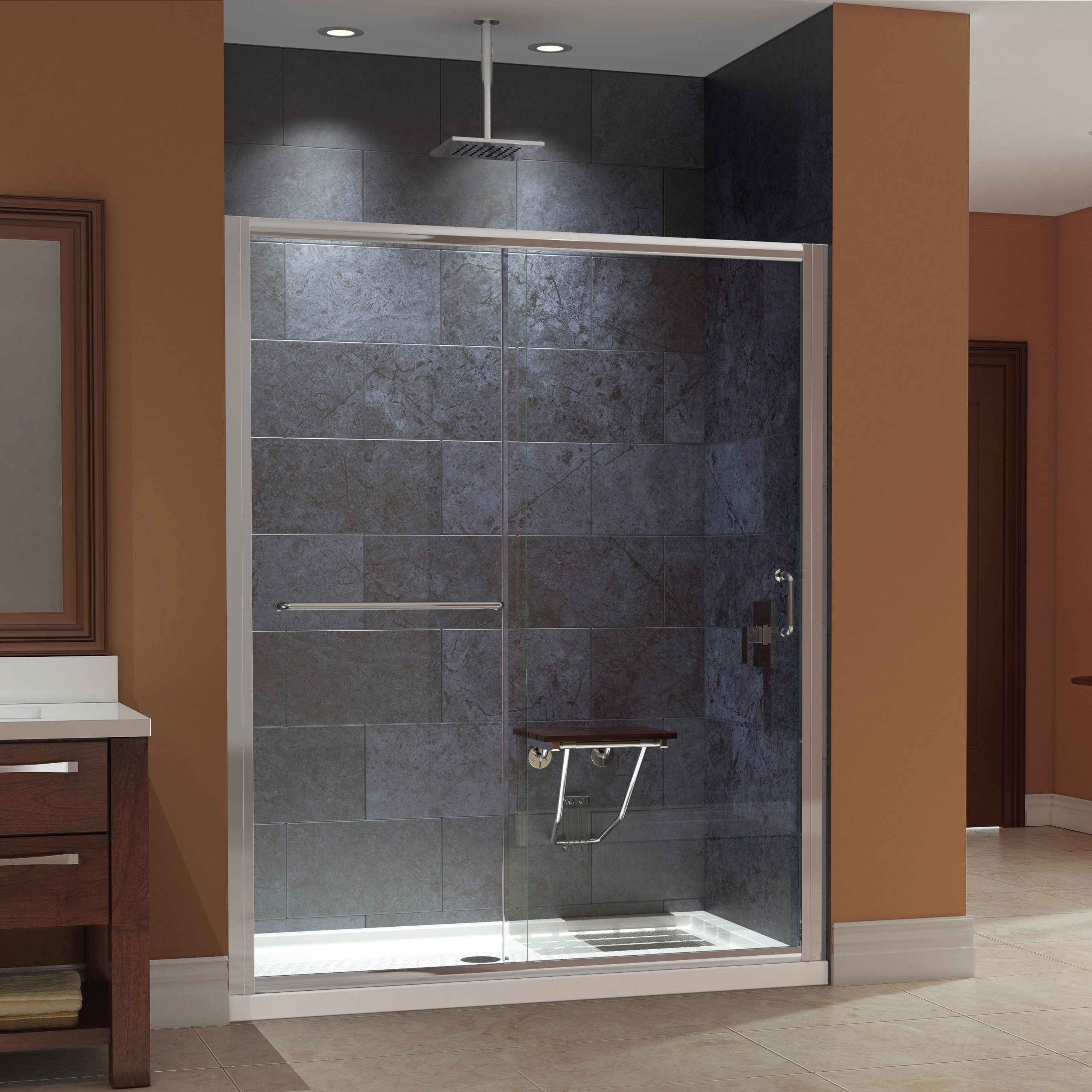 DreamLine Infinity-Z 56 to 60 in. W Shower Door Clear Glass with SlimLine Shower Base 34 in. D x 60 in. W and Teak Seat - Free Shipping Today ... & DreamLine Infinity-Z 56 to 60 in. W Shower Door Clear Glass with ...