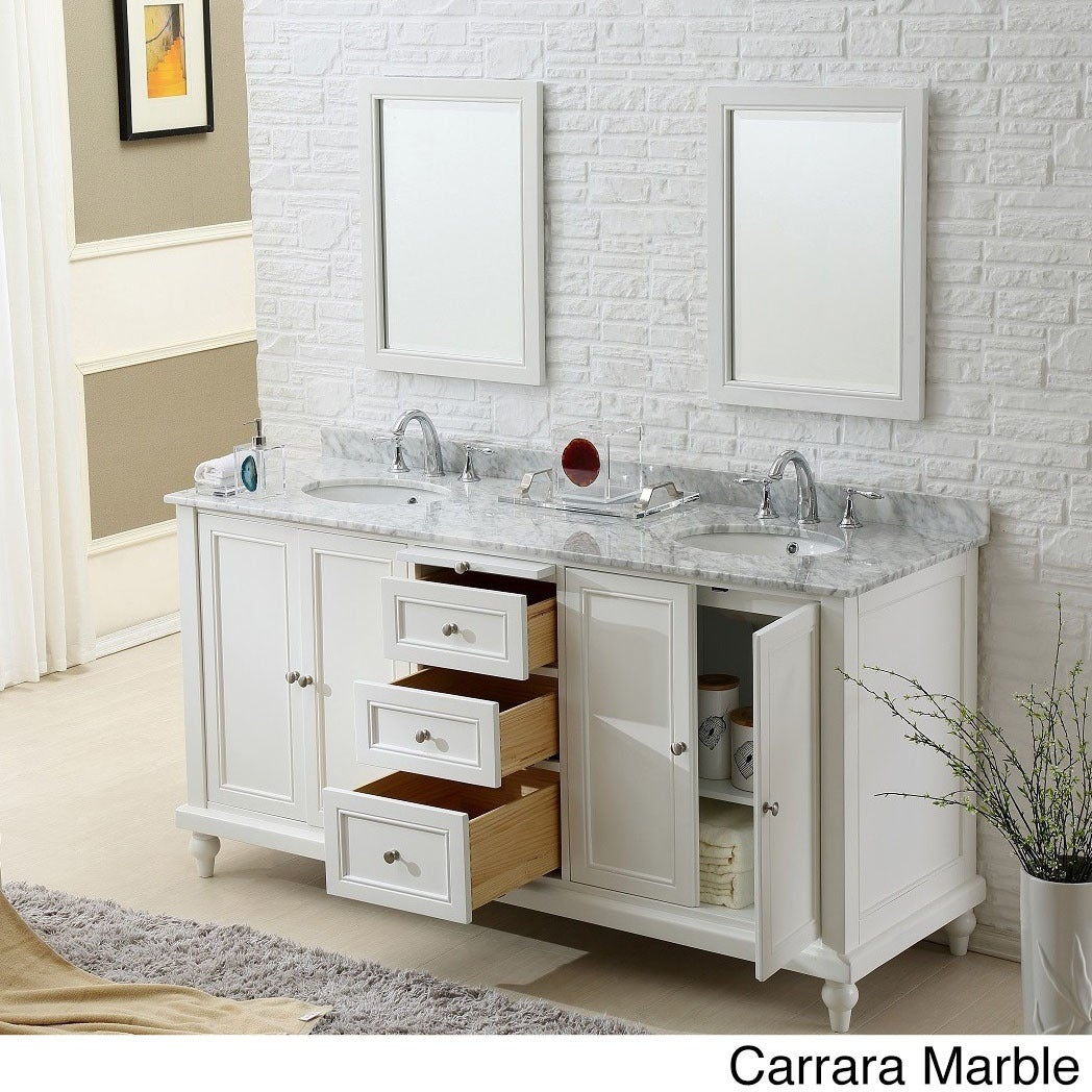 Shop Direct. Vanity Sink 70-inch Classic Pearl White Double Vanity ...