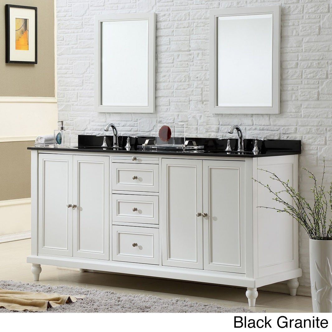 Vanity Sink 70 Inch Clic Pearl White Double Cabinet On Free Shipping Today 9813120