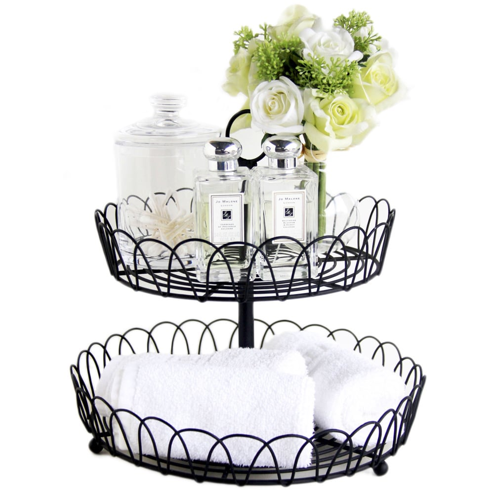 2-tier Black Metal Wire Standing Fruit Storage Basket - Free ...
