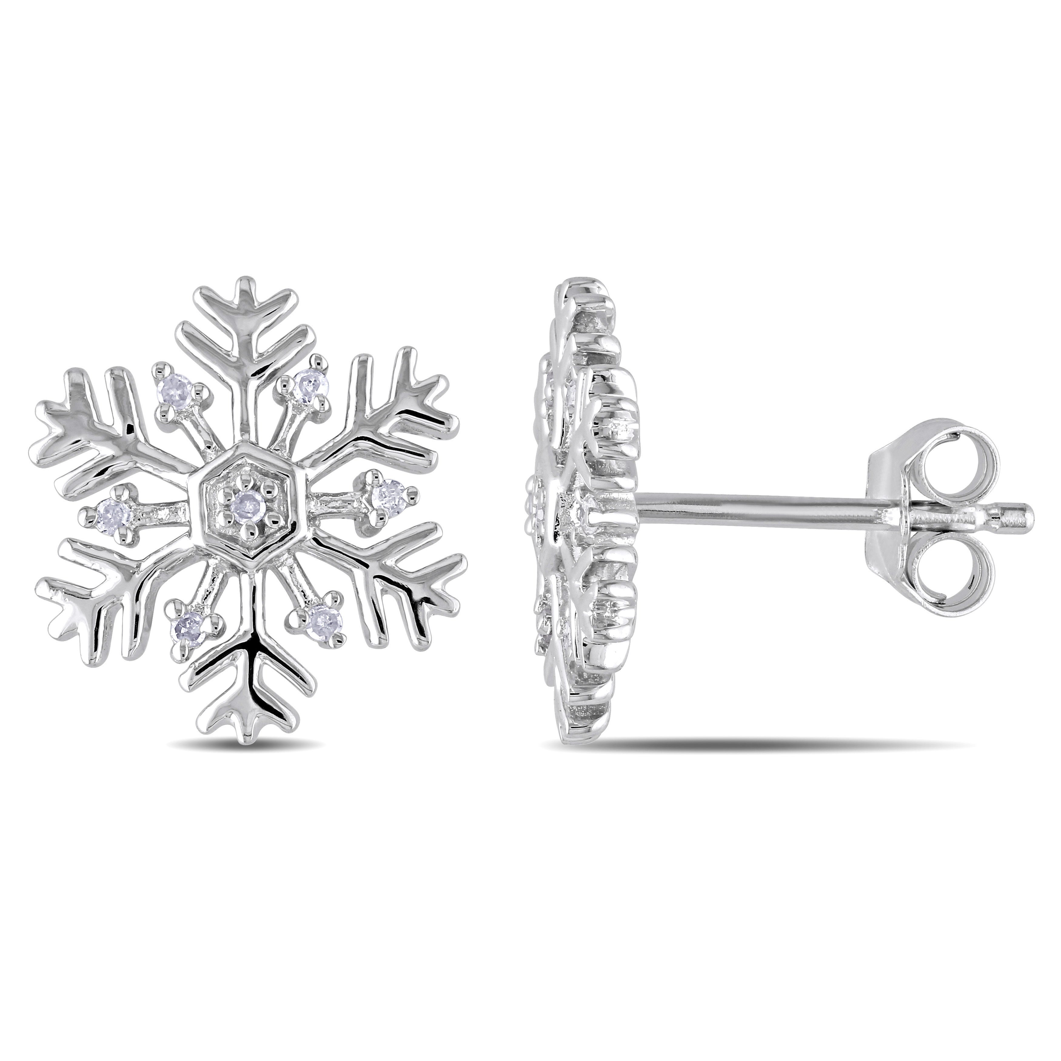 Miadora Sterling Silver Snowflake Diamond Stud Earrings On Free Shipping Today 9813518