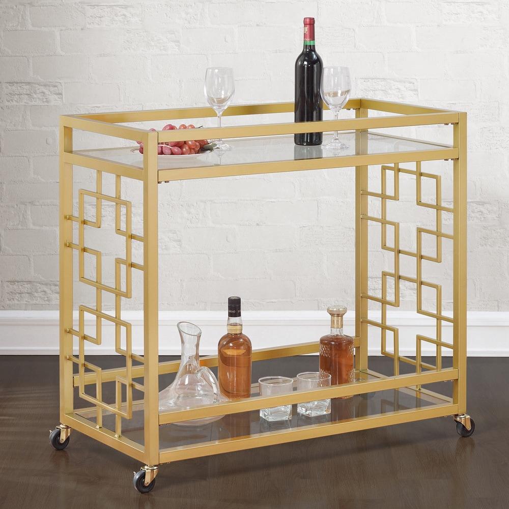 Jasper Laine Goldtone Metal Bar Cart Free Shipping Today 9814021