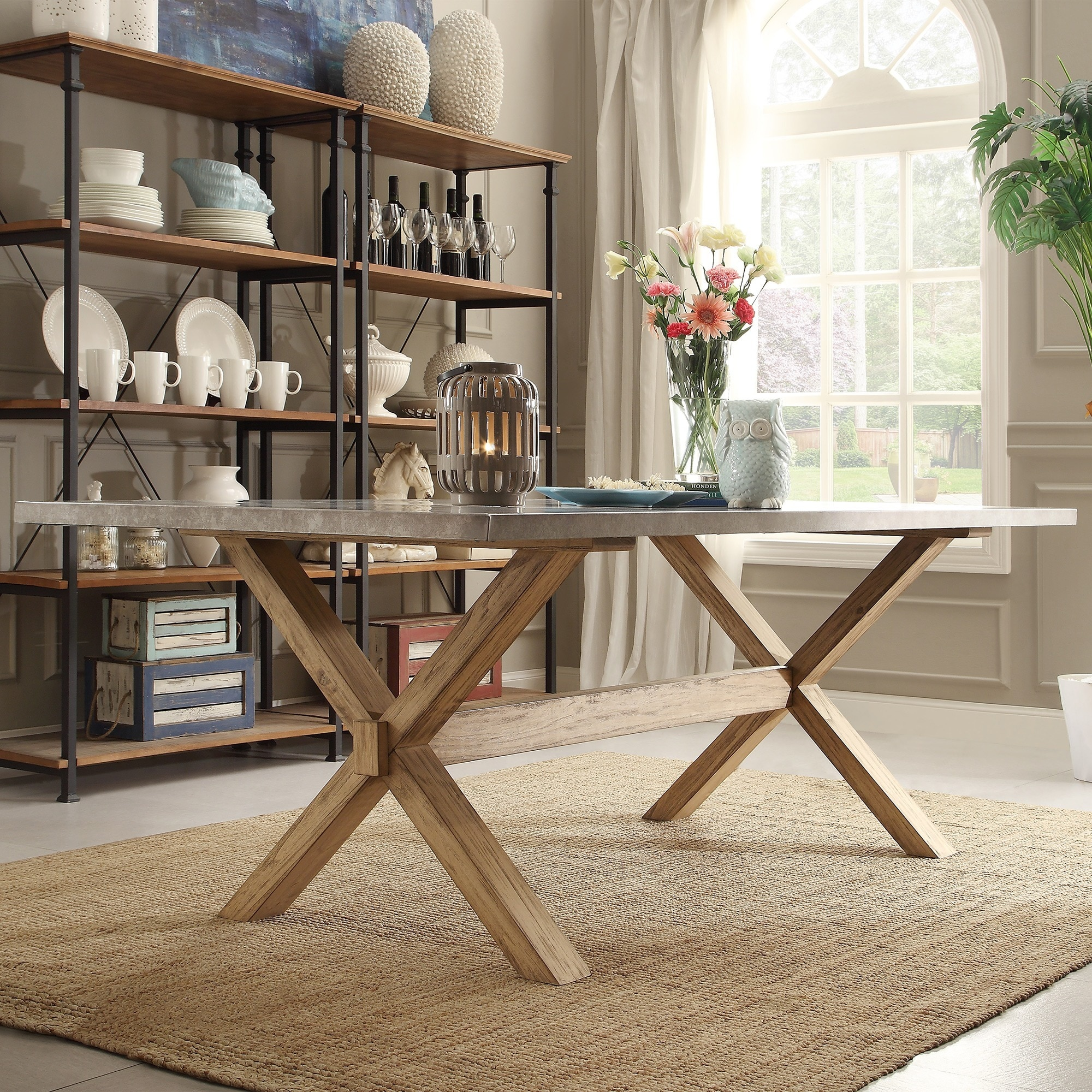 zinc dining table copper shop aberdeen industrial zinc top weathered oak trestle dining table by inspire artisan on sale free shipping today overstockcom 9814768