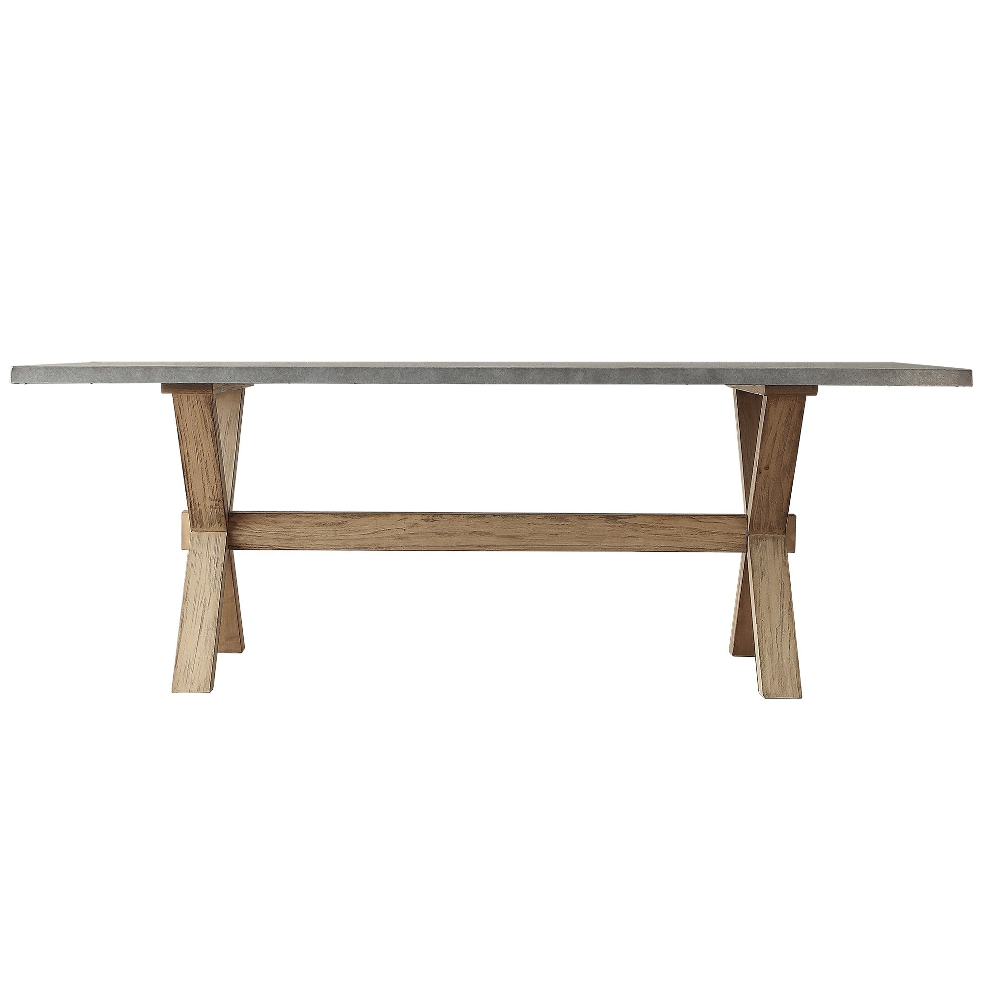 Aberdeen Industrial Zinc Top Weathered Oak Trestle Dining Table By INSPIRE  Q Artisan   Free Shipping Today   Overstock.com   16980235