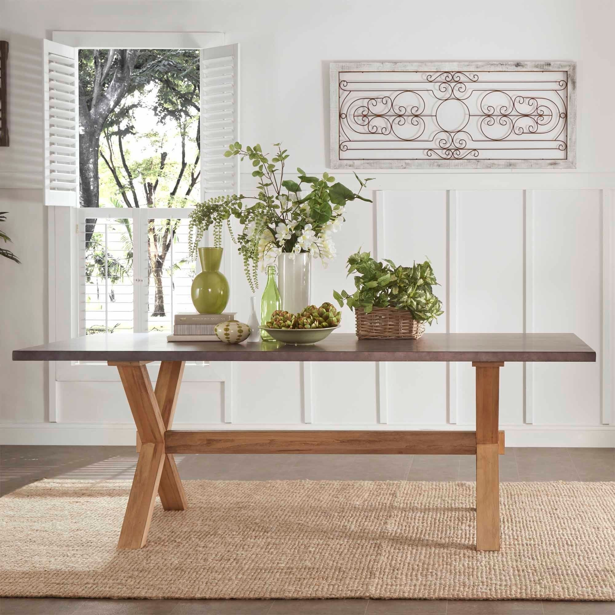 Shop Aberdeen Industrial Zinc Top Weathered Oak Trestle Dining Table By  INSPIRE Q Artisan   Free Shipping Today   Overstock.com   9814768