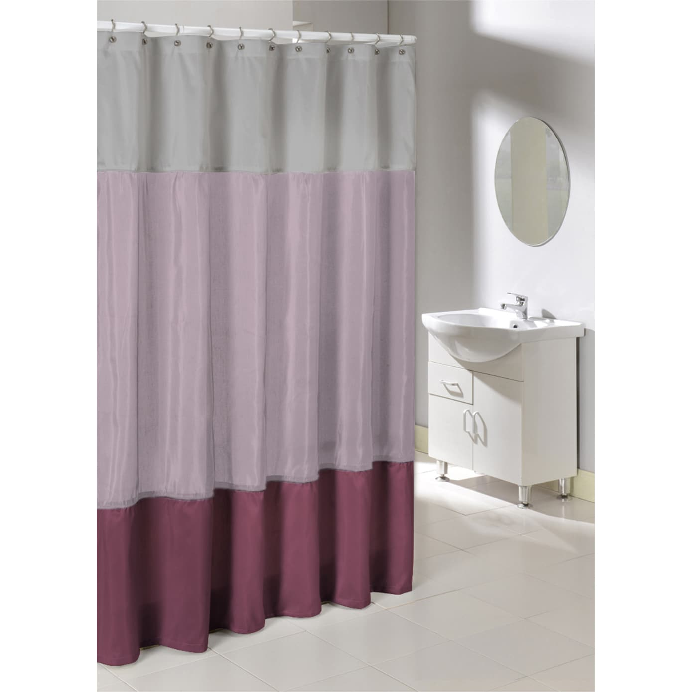Shop Poly Silk Color Block Shower Curtain