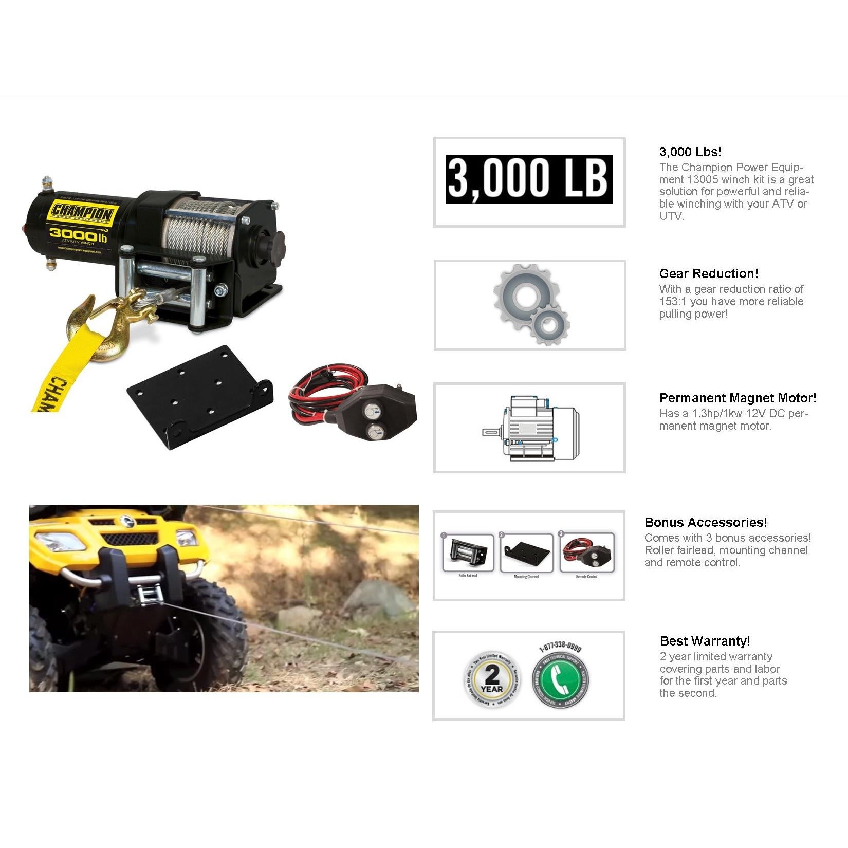 Champion 3000 Pound Winch Wiring Diagram Shop Power Equipment Atv Utv Kit Free Shipping Today 1650x1650