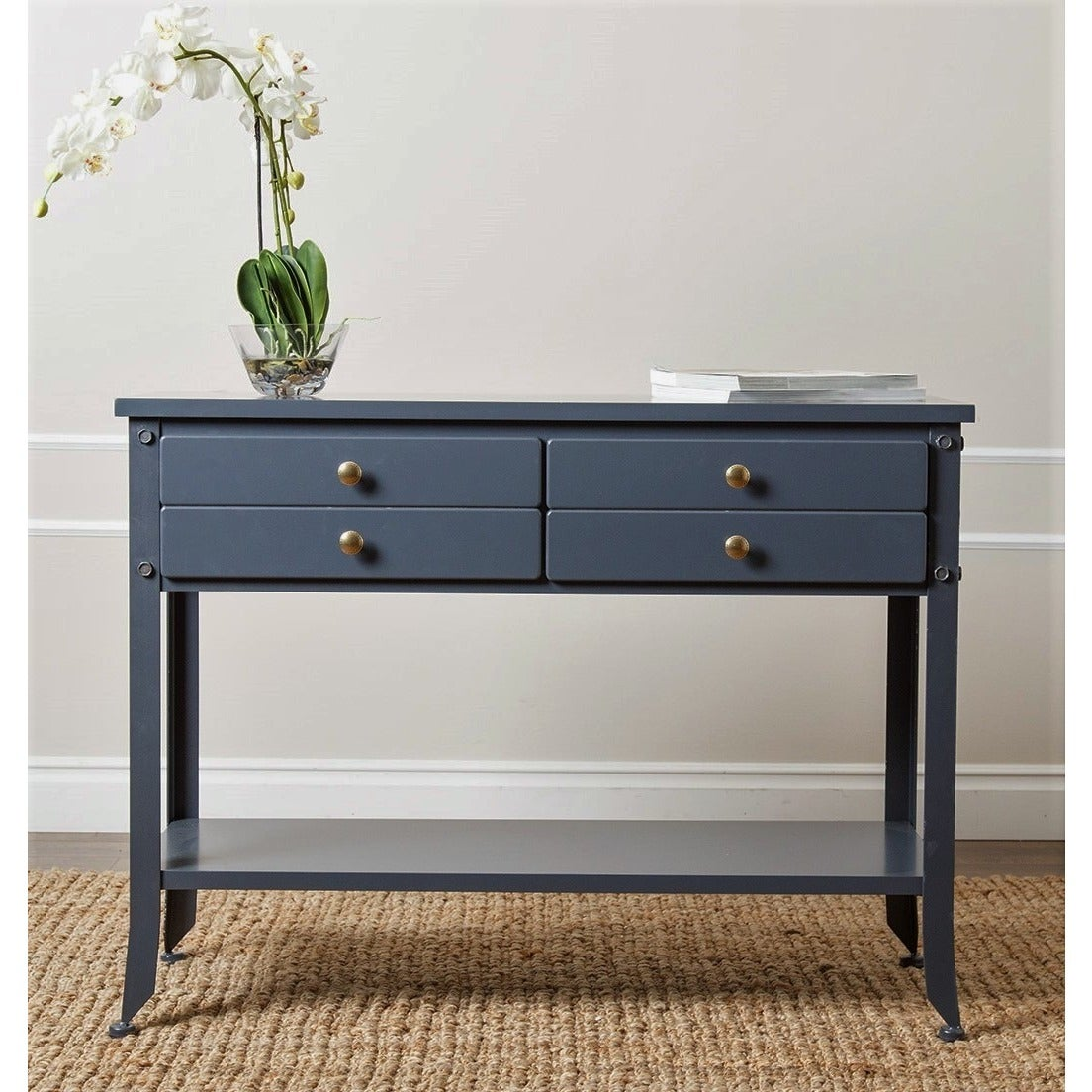 Abbyson Antoni Antiqued Blue Console Sofa Table On Free Shipping Today 9816599