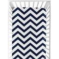 Sweet Jojo Designs Navy/ White Chevron Fitted Crib Sheet