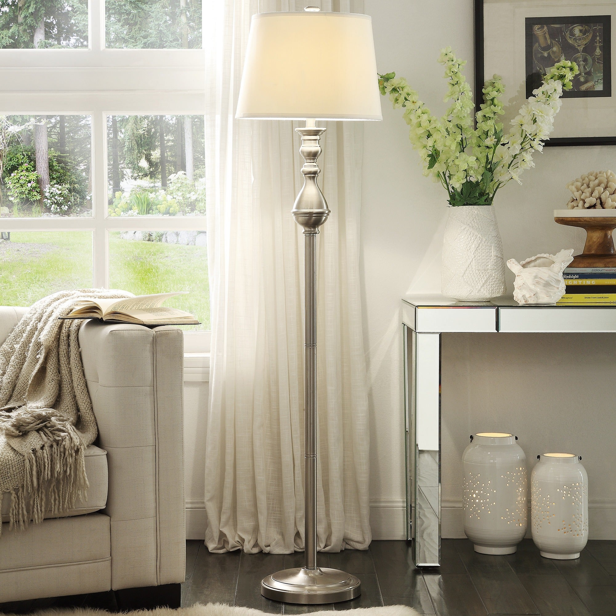 Sedgwick 3-way Satin Nickel Contoured Base 1-light Accent Floor Lamp by  iNSPIRE Q Bold - Free Shipping Today - Overstock.com - 16984254