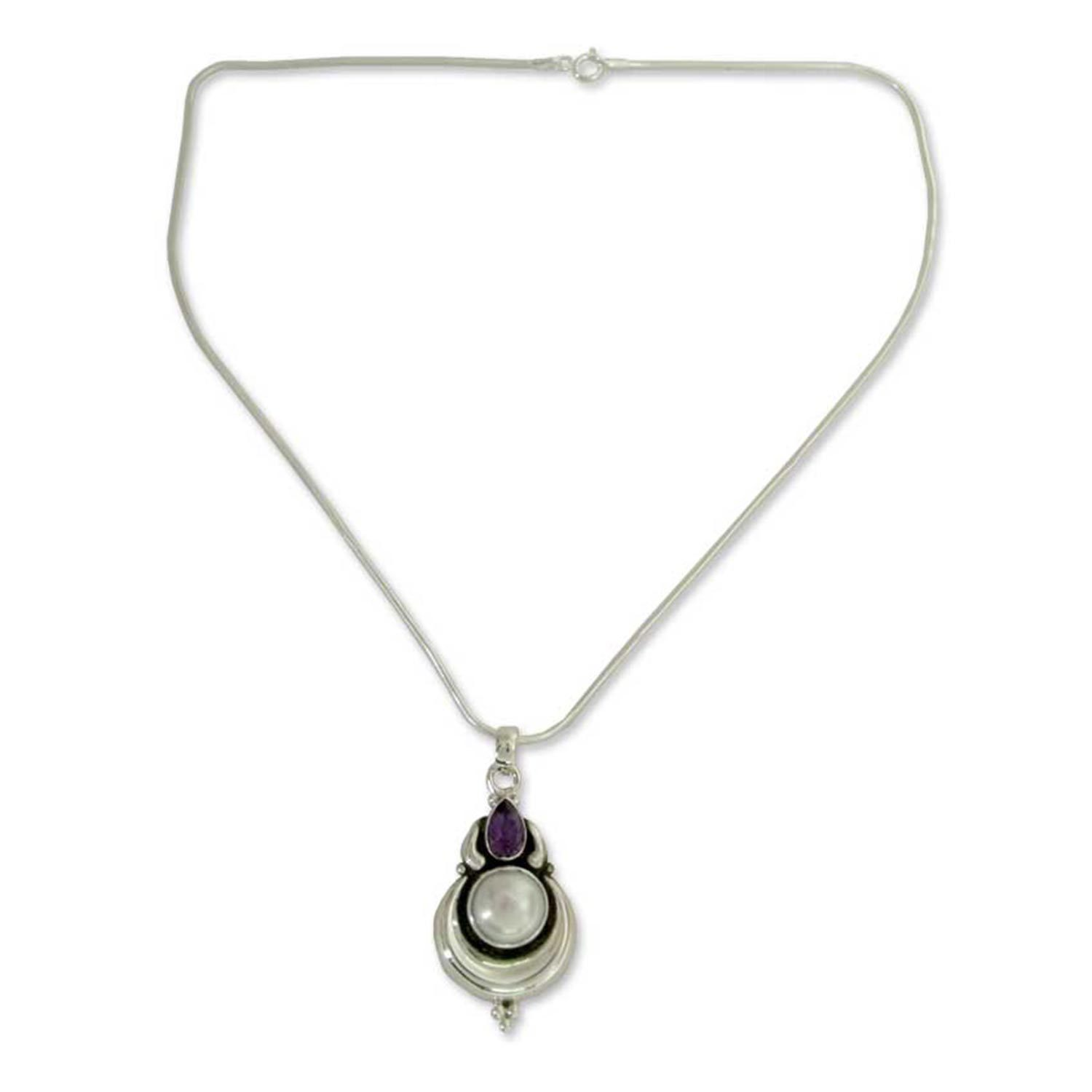 05db0fd3bd16d Handmade Sterling Silver 'Jaipur Moon' Pearl Amethyst Necklace (10 mm)  (India)