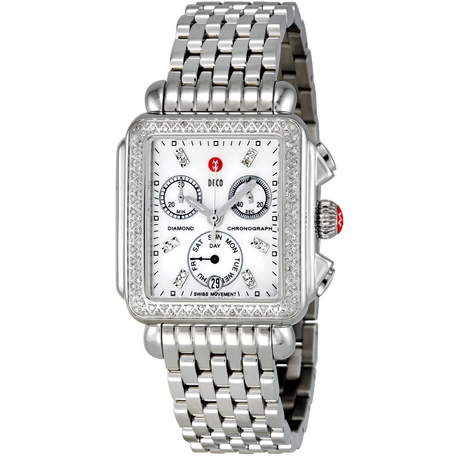 watch women amazon stainless and michele diamond s head two dp tone watches steel deco com