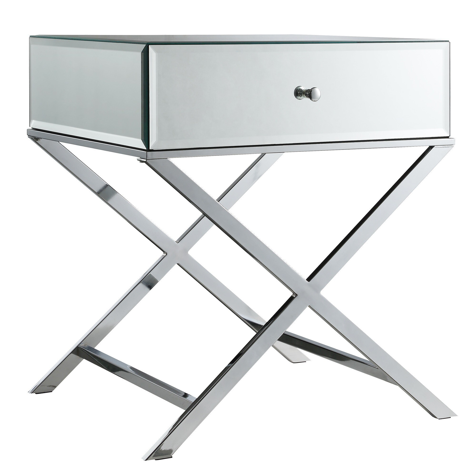 Shop Camille X Base Mirrored Accent Campaign Table By INSPIRE Q Bold   On  Sale   Free Shipping Today   Overstock.com   9821233