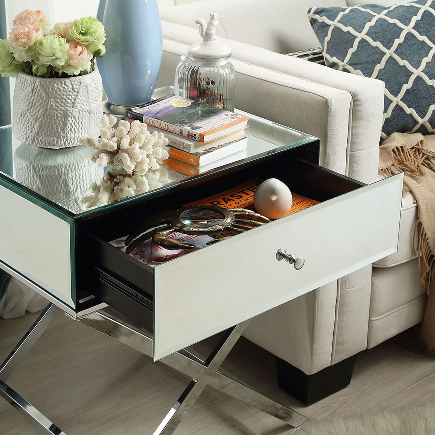 Camille X Base Mirrored Accent Campaign Table by iNSPIRE Q Bold