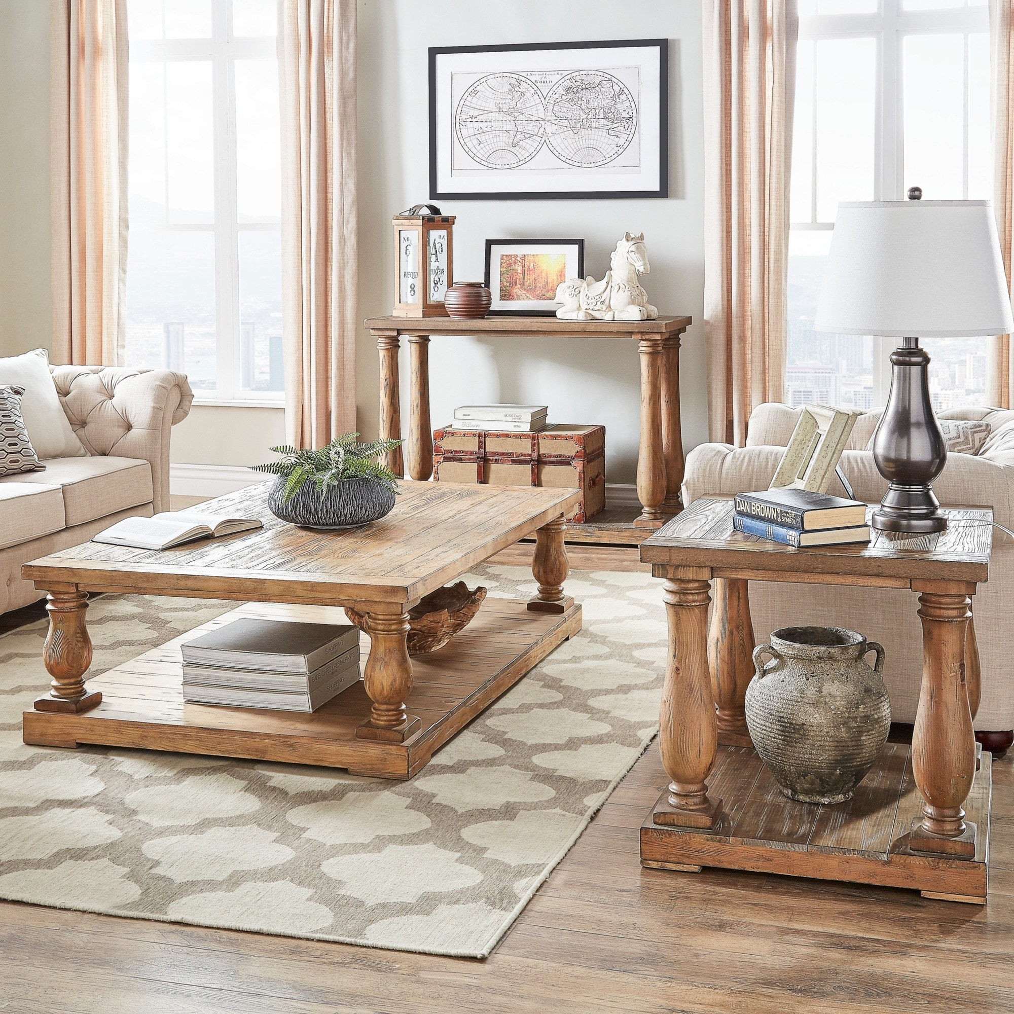 Edmaire Rustic Pine Baluster 3 Piece Table Set By Inspire Q  # Muebles Tagalog