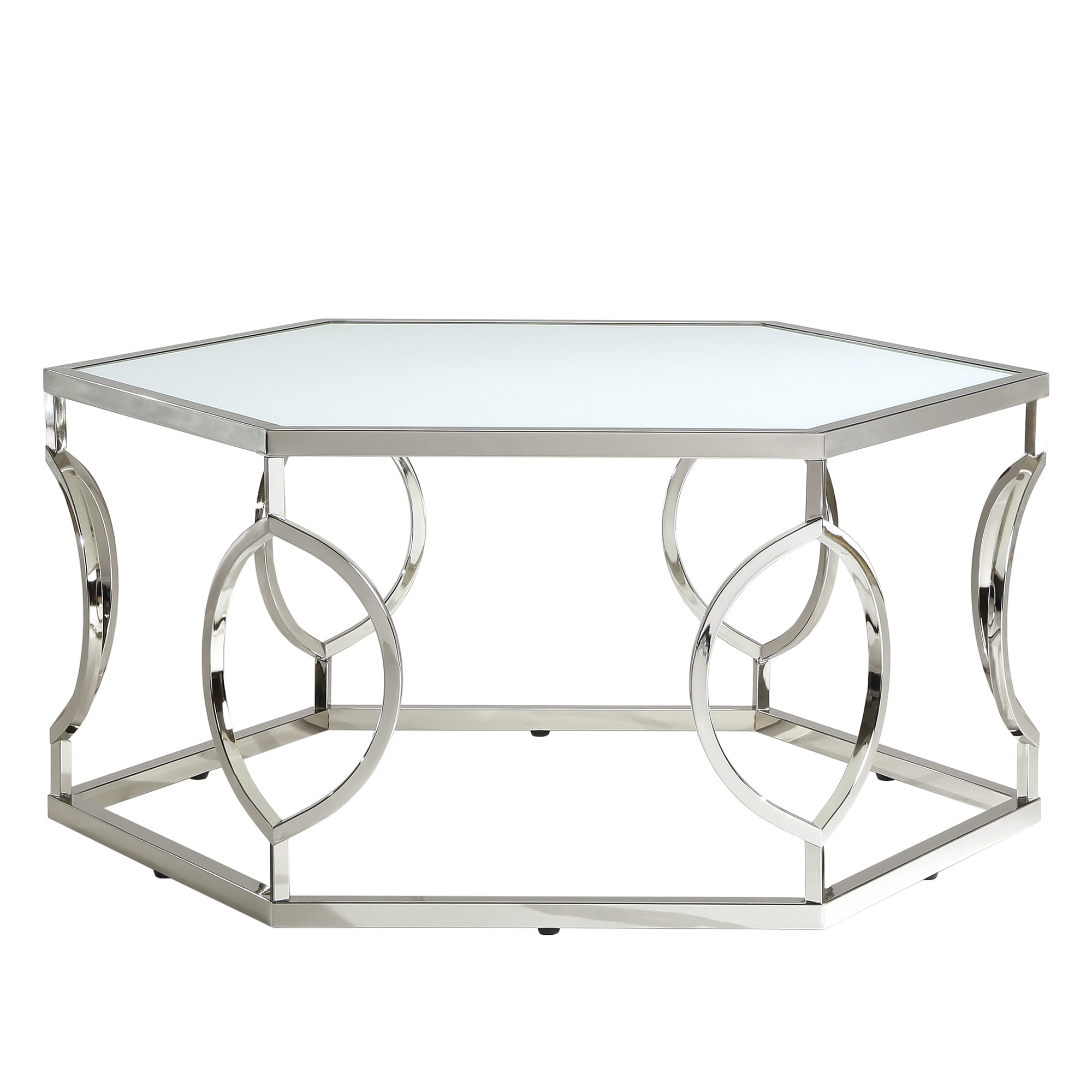 Elegant Davlin Contemporary Glam Hexagonal Metal Frosted Glass Coffee Table By  INSPIRE Q Bold   Free Shipping Today   Overstock   16986113