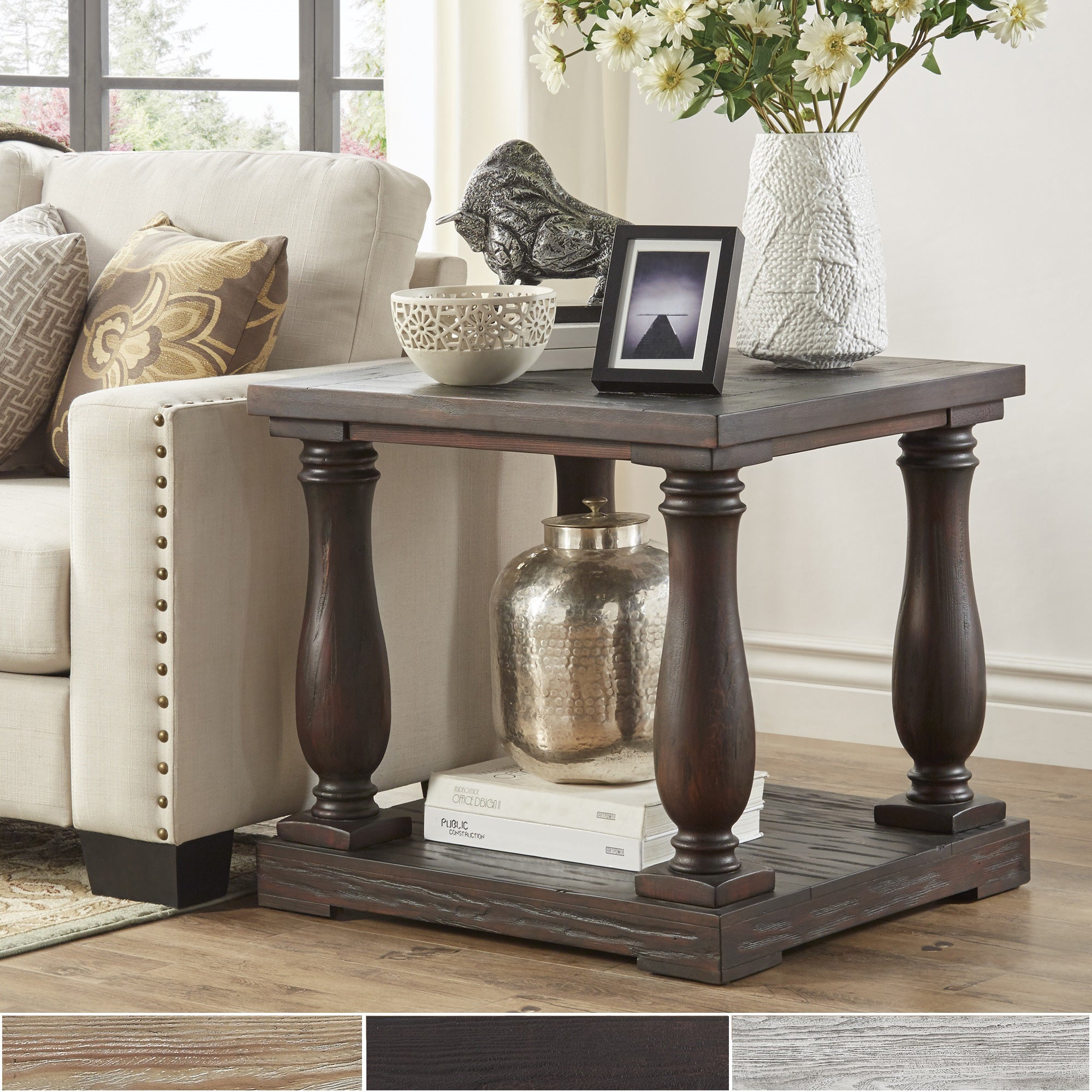 Shop Edmaire Rustic Baluster End Table By INSPIRE Q Artisan   On Sale    Free Shipping Today   Overstock.com   9821278