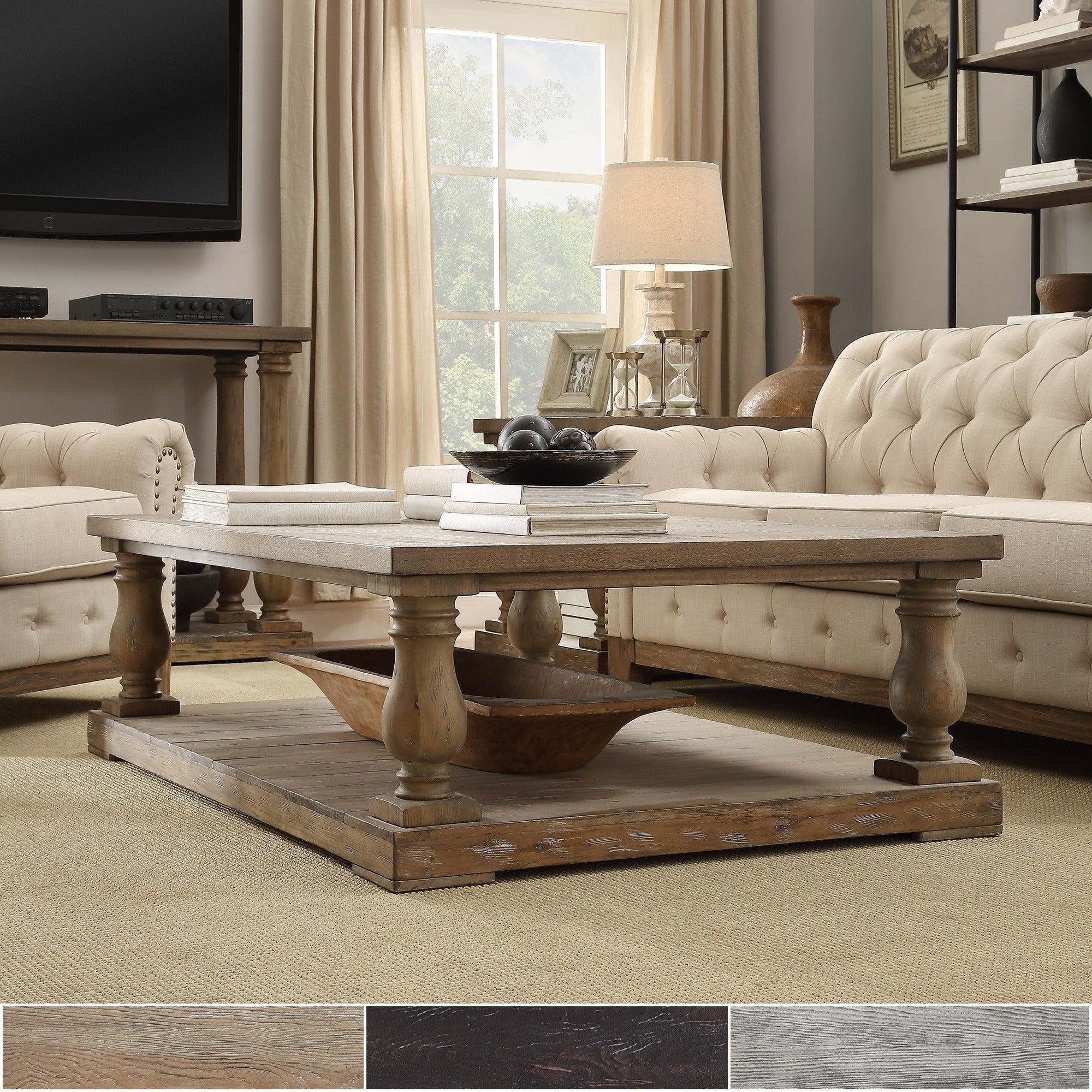 High Quality Shop Edmaire Rustic Baluster 60 Inch Coffee Table By INSPIRE Q Artisan    Free Shipping Today   Overstock.com   9821281