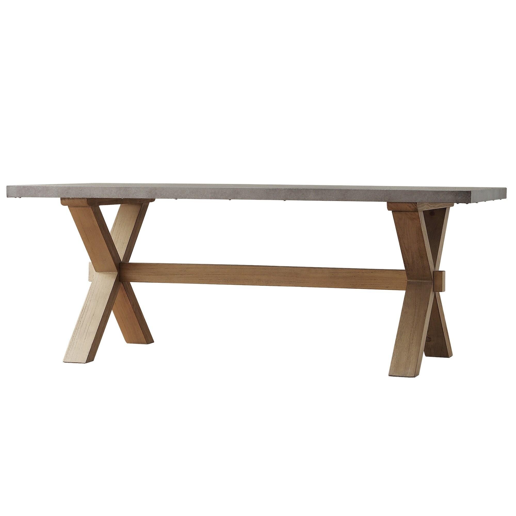 Aberdeen Industrial Zinc Top Weathered Oak Trestle Coffee Table by