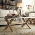 Aberdeen Industrial Zinc Top Weathered Oak Trestle Coffee Table by iNSPIRE Q Artisan