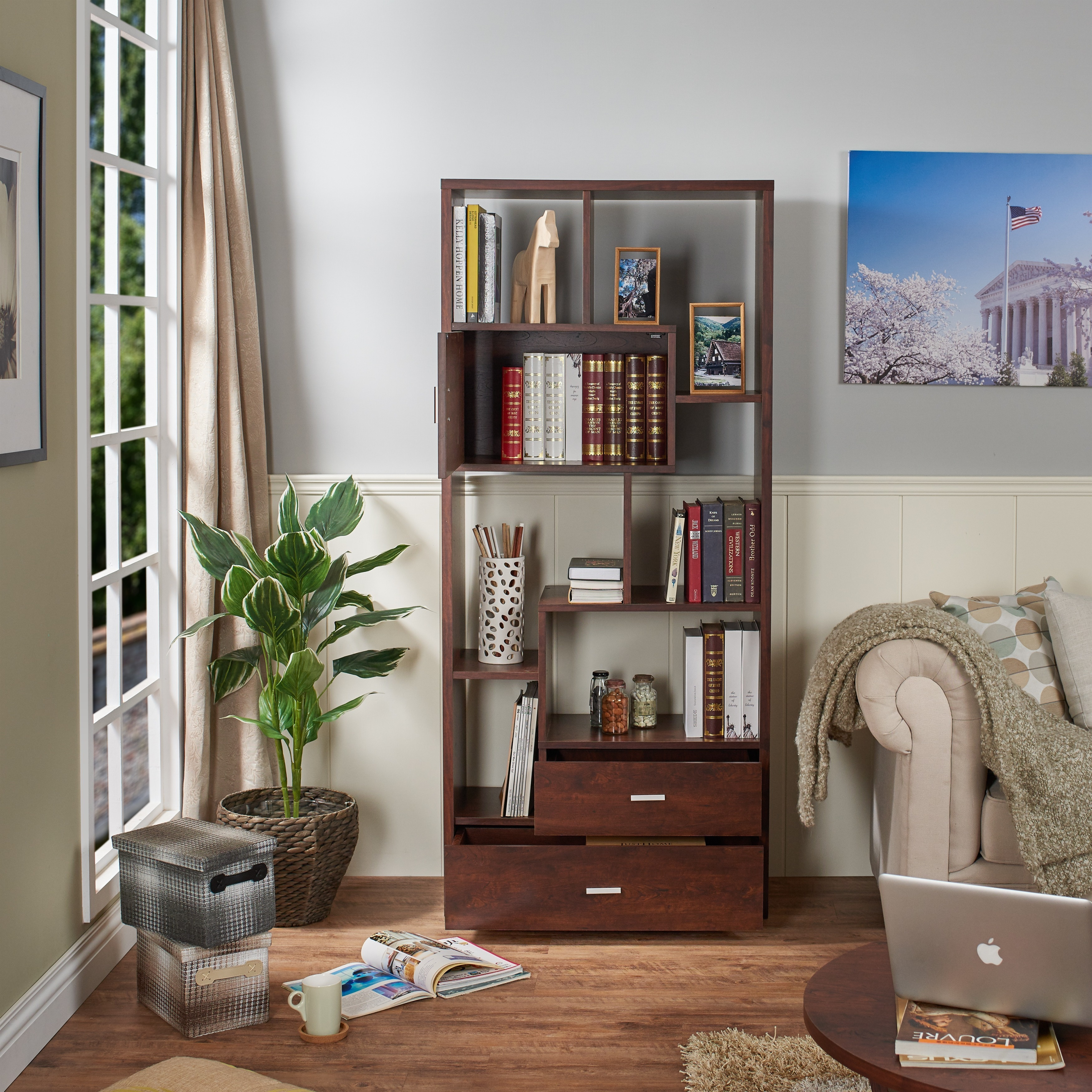Shop Furniture Of America Junipe Vintage Walnut Multifunctional Bookcase    On Sale   Free Shipping Today   Overstock.com   9821344