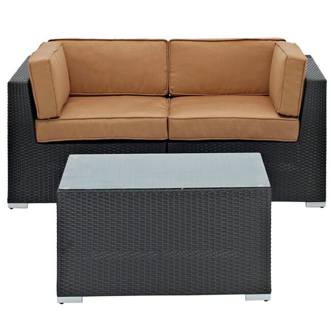 Camfora Outdoor Espresso Wicker Patio 3-piece Sofa Set