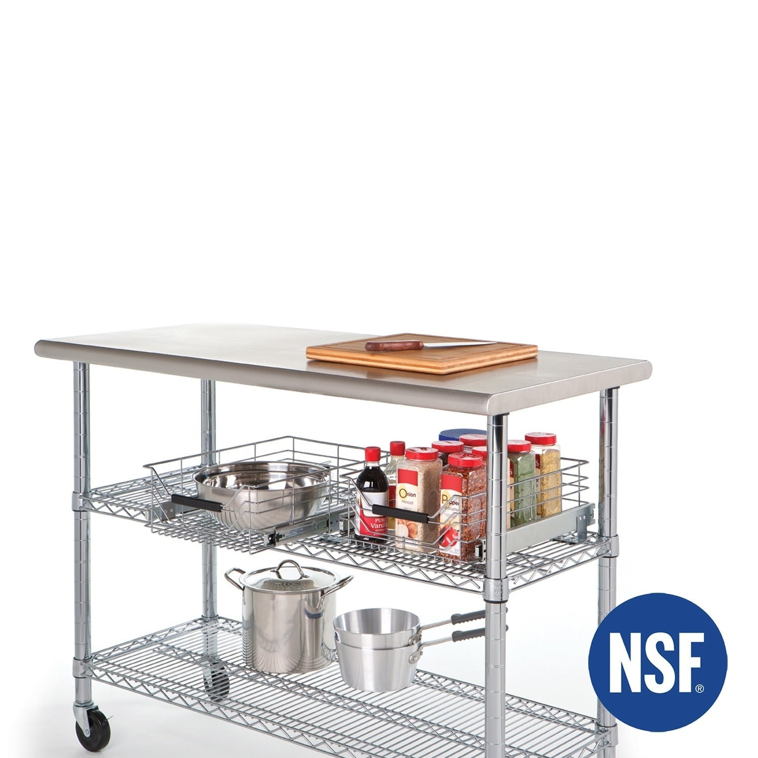 Shop Seville Classics Stainless Steel Work Table Free Shipping - Stainless steel work table with shelves