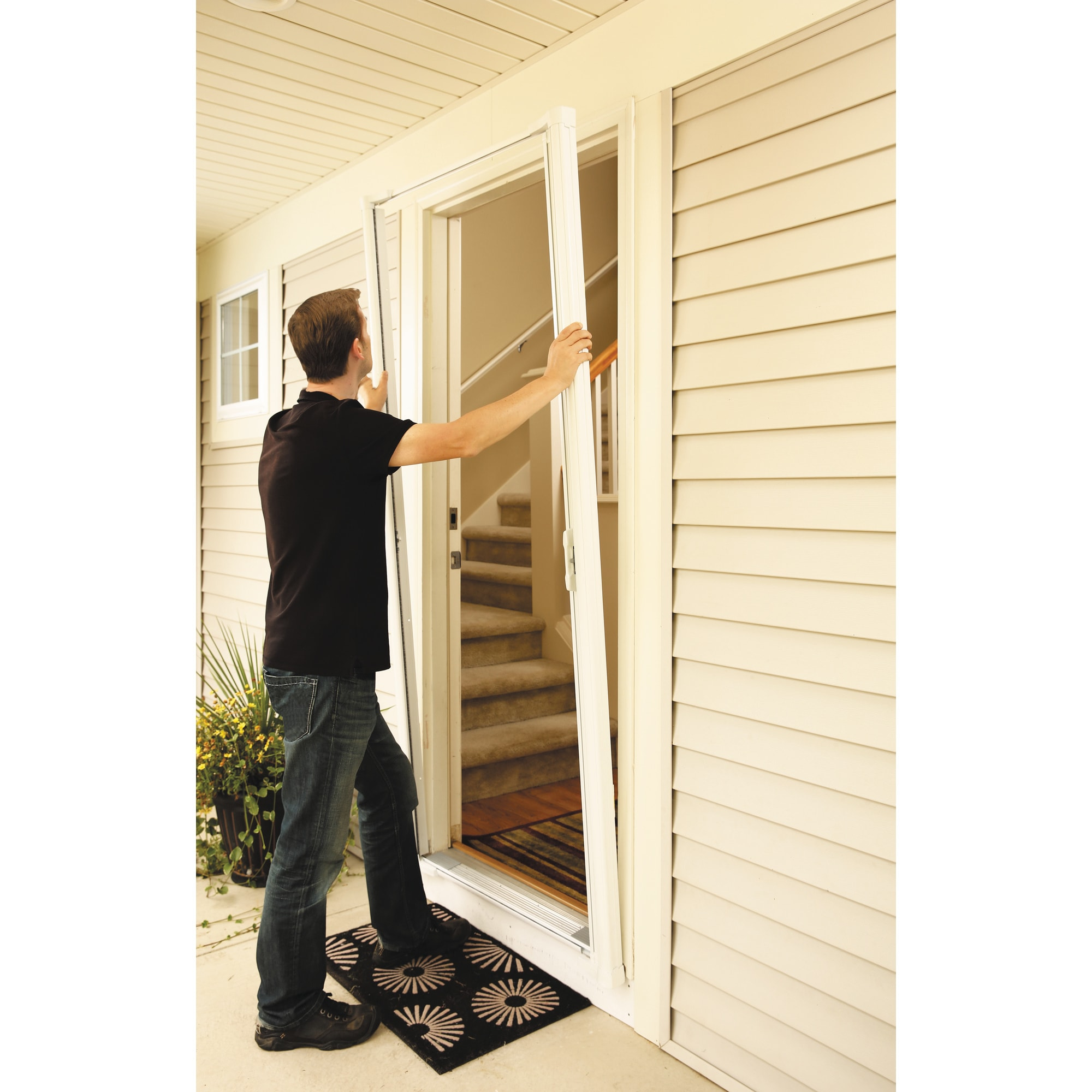 Shop Odl Brisa White Tall Retractable Screen Door Free Shipping
