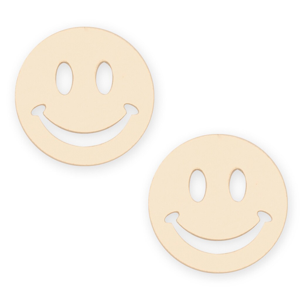 14k Yellow Gold Smiley Stamping Stud Earrings On Free Shipping Today 9821711