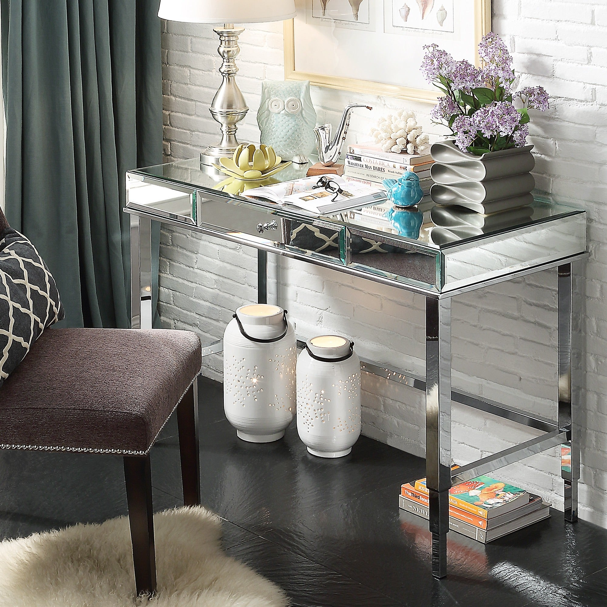 Relatively Camille Beveled Mirrored Accent 1-drawer Office Writing Desk by  ZC31