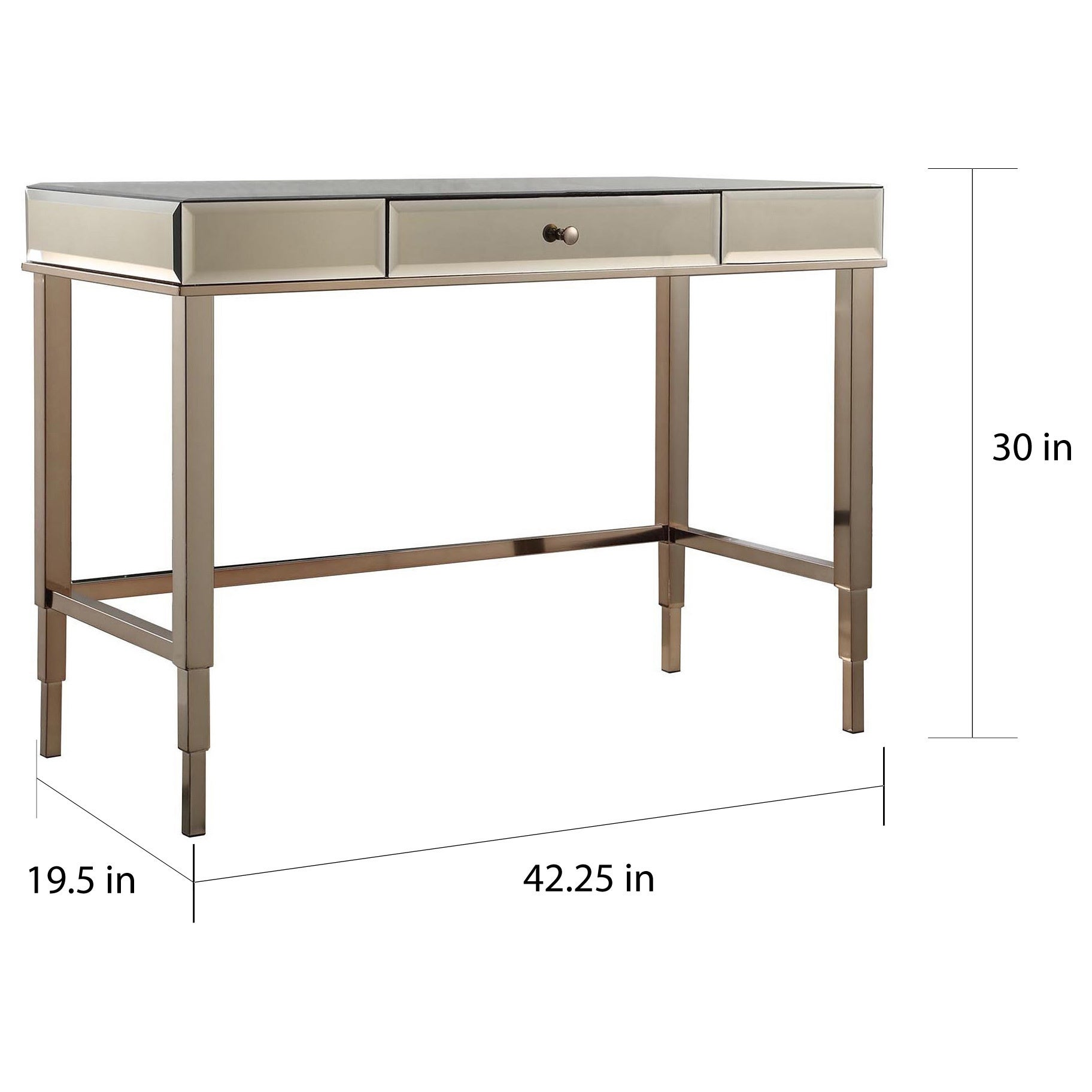 Camille Beveled Mirrored Accent 1-drawer Office Writing Desk by iNSPIRE Q  Bold - Free