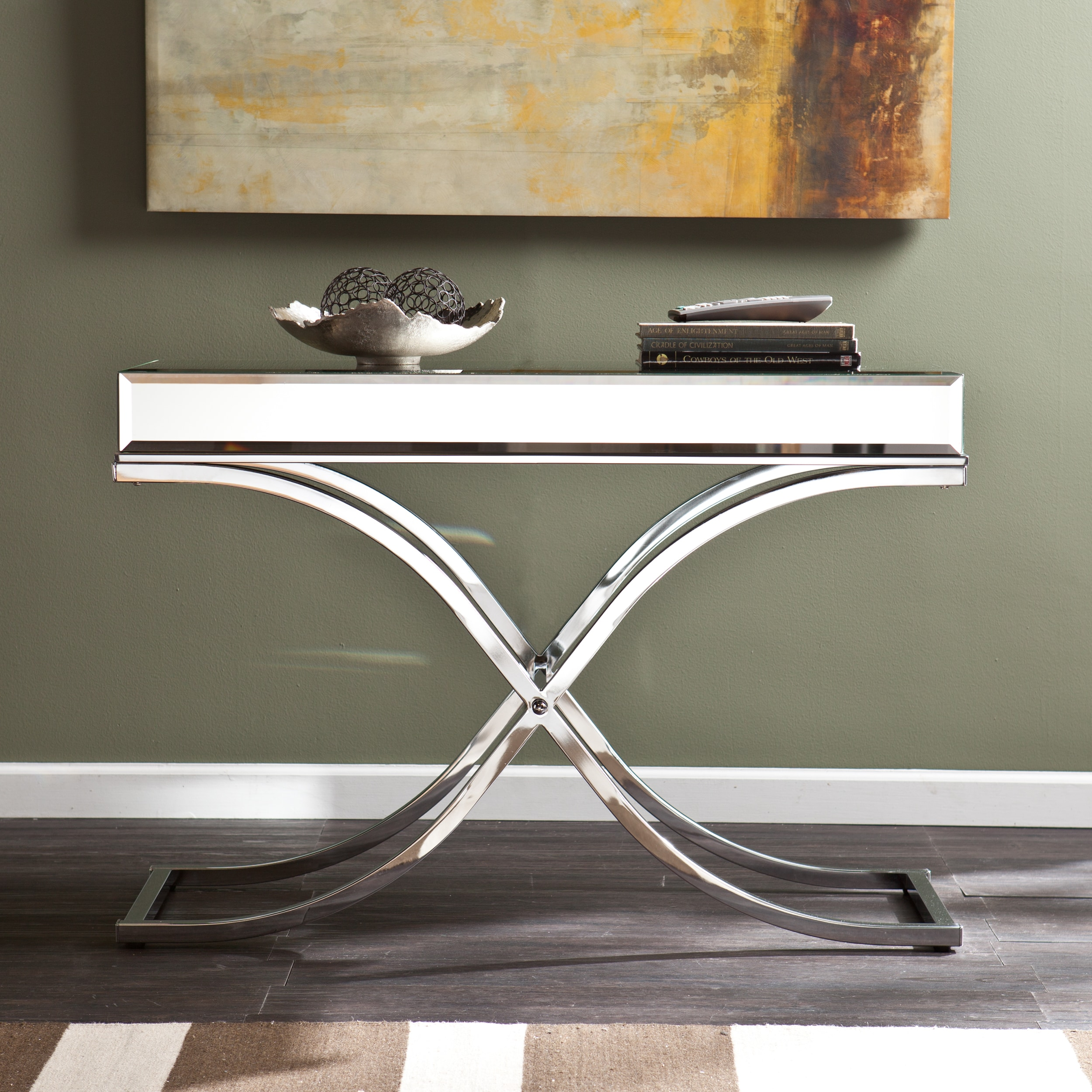 Silver Orchid Olivia Chrome Mirrored Sofa/ Console Table   Free Shipping  Today   Overstock   16986642
