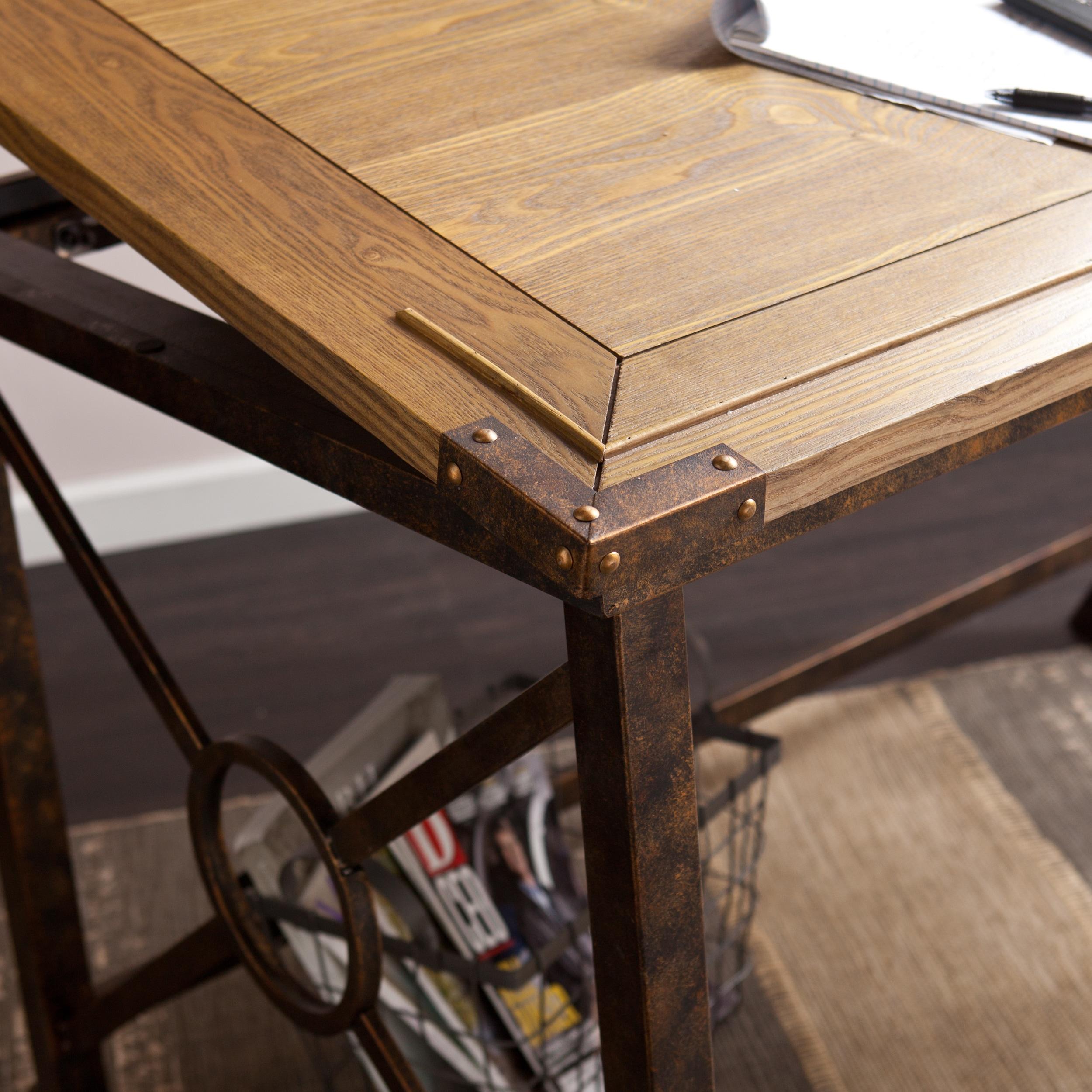 Harper Blvd Kaden Weathered Oak Antique Br Finished Style Tilt Top Drafting Desk Free Shipping Today 16986646