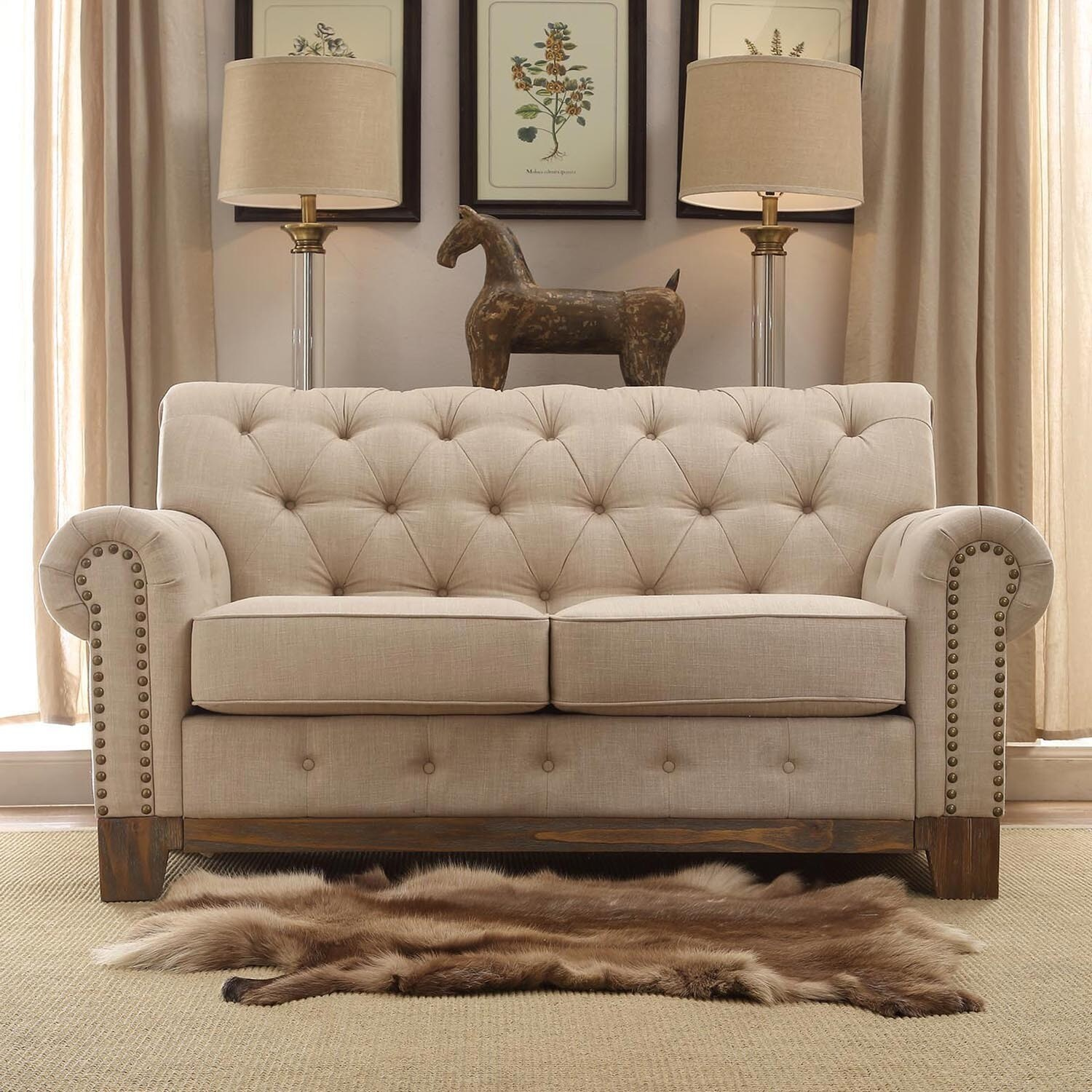 Greenwich Tufted Rolled Arm Nailhead Beige Chesterfield Loveseat By Inspire Q Free Shipping Today 16987019
