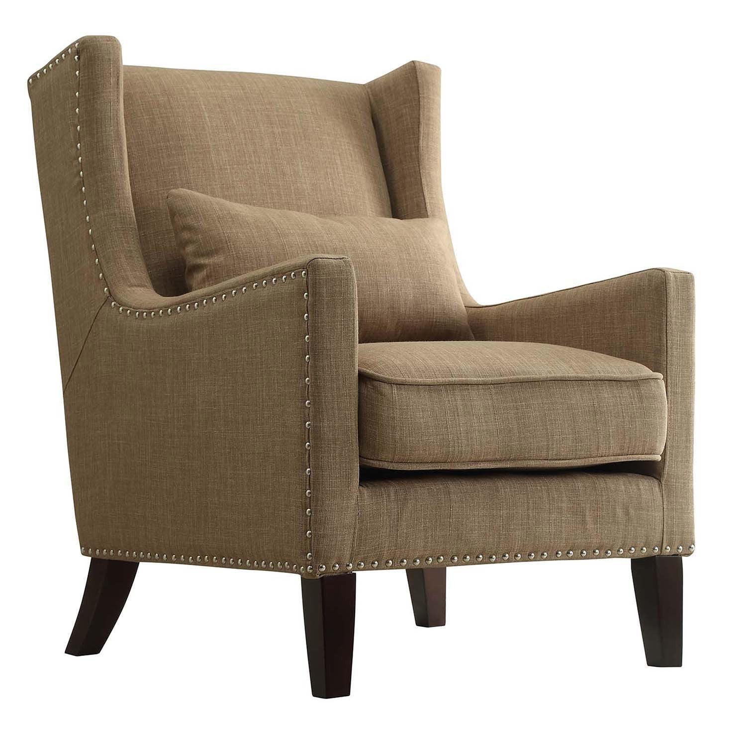 shop henry wingback nailhead upholstered club chair with pillow by