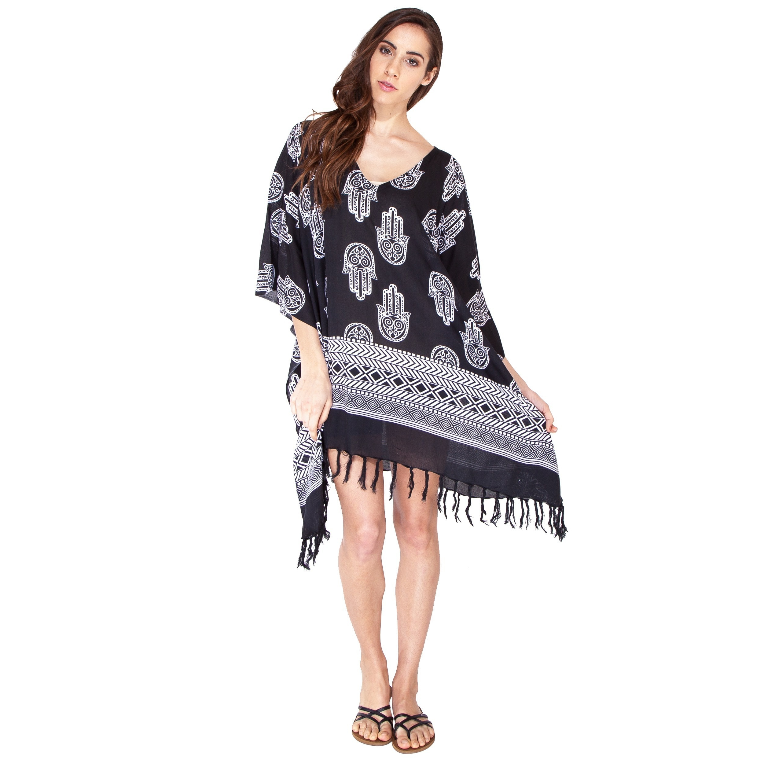Shop Handmade Women s Hamsa Pattern Beach Cover  Dress (Indonesia) - Free  Shipping On Orders Over  45 - Overstock - 9824867 0968fecc5
