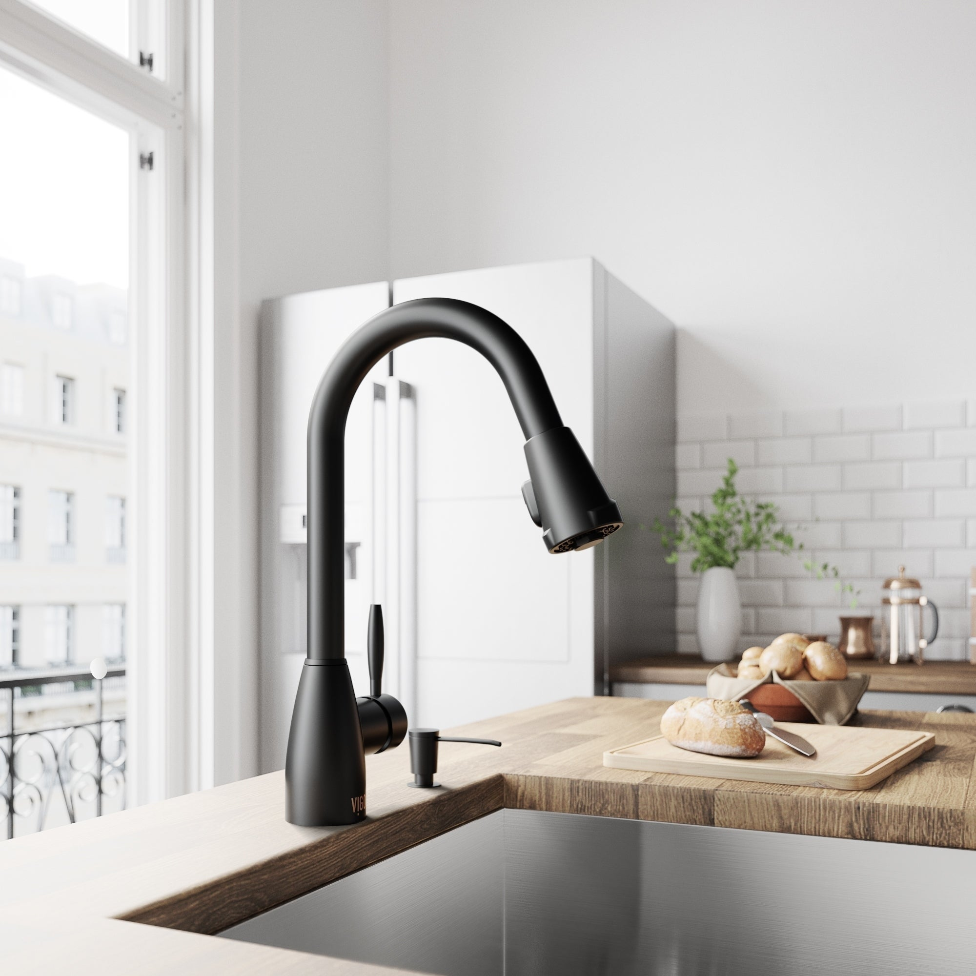 Shop Vigo Graham Matte Black Pull Down Spray Kitchen Faucet On