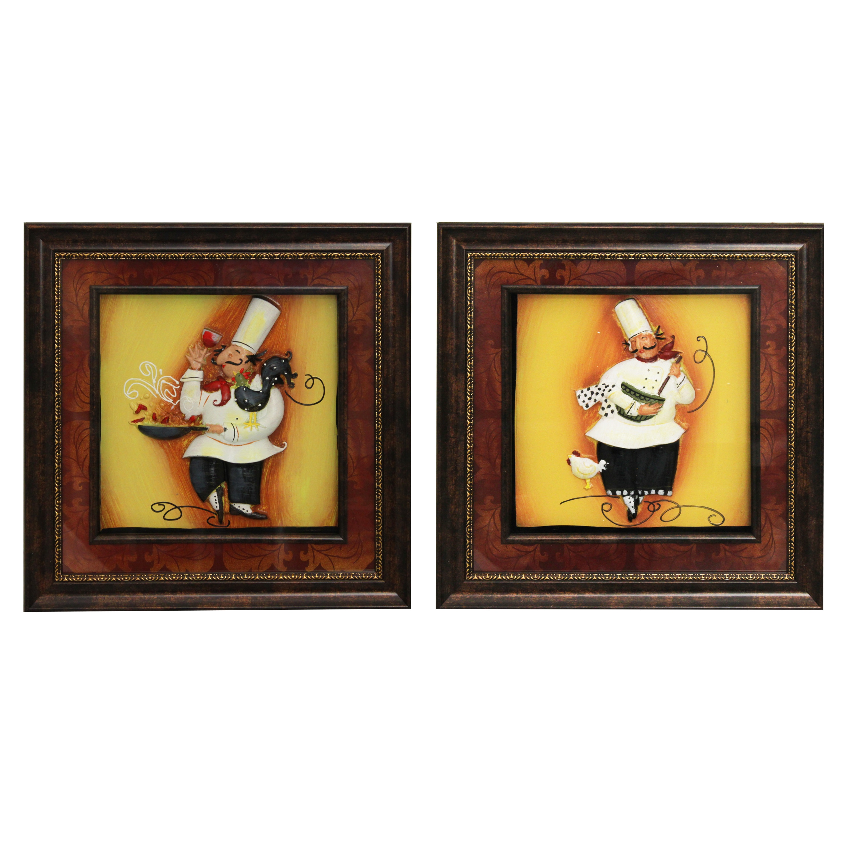 Shop \'Chef\' Framed 3D Metal Wall Art (Set of 4) - Free Shipping ...