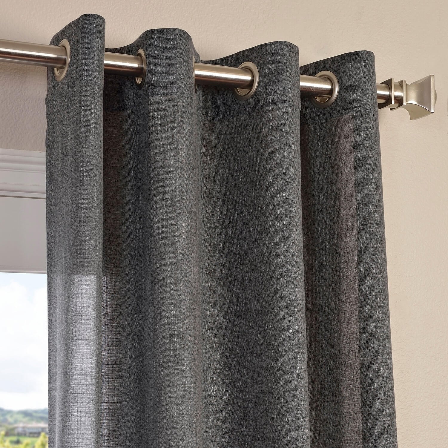 Shop exclusive fabrics faux linen grommet top curtain panel free shipping on orders over 45 overstock com 9826161