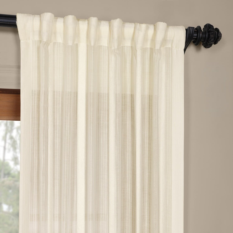 Shop Exclusive Fabrics Antigua Striped Linen Sheer Curtain Panel