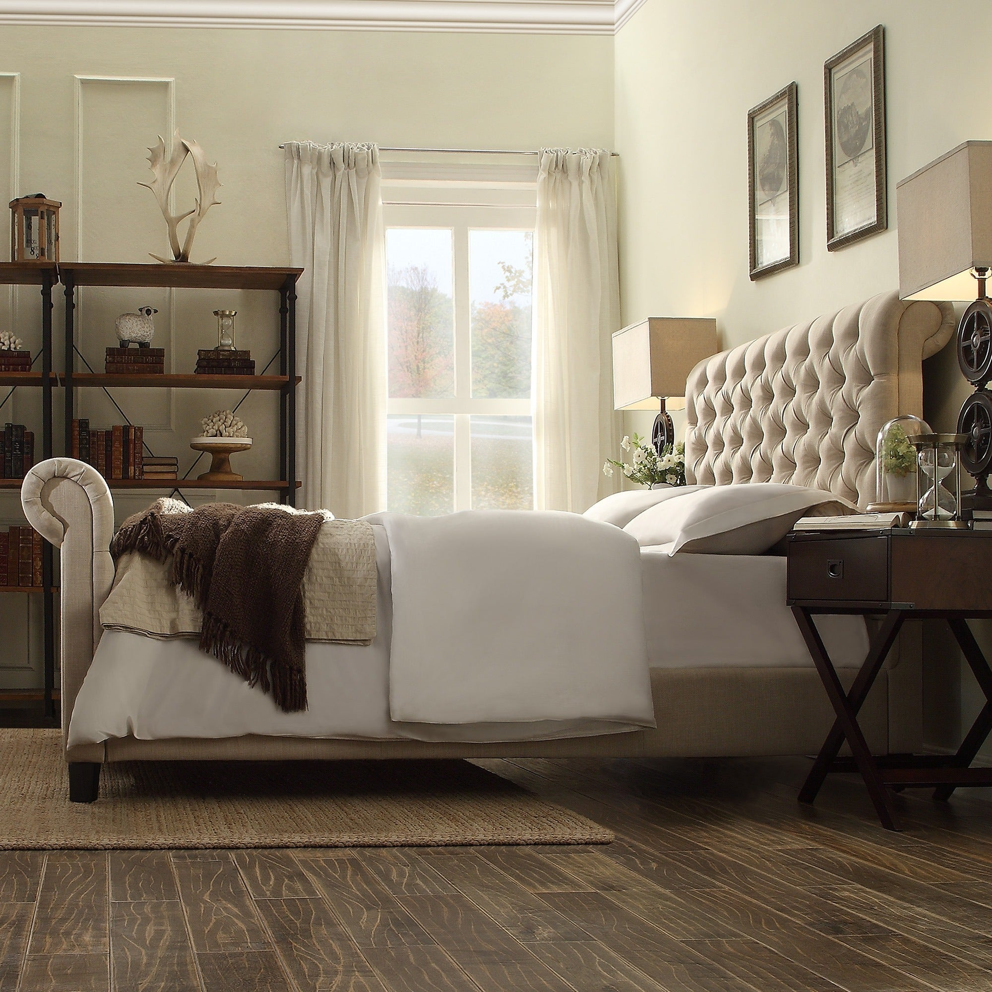 Knightsbridge Beige Linen Rolled Top Tufted Chesterfield Bed with Footboard  by iNSPIRE Q Artisan - Free Shipping Today - Overstock.com - 16991499