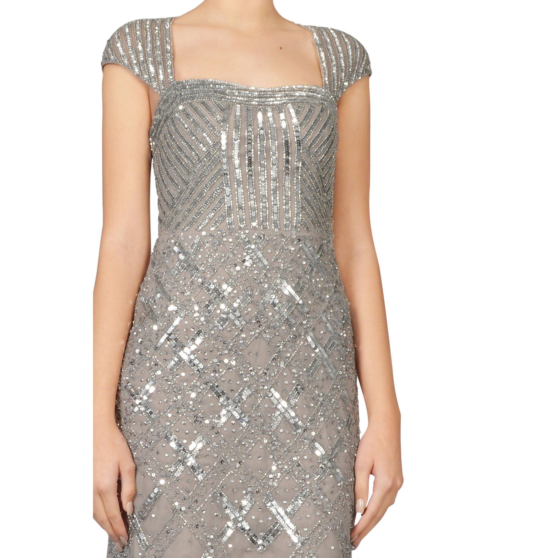 Shop Adrianna Papell Platinum Illusion Cap Sleeve Beaded Sequin ...