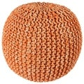 "2-Tone 16"" Orange Cotton Rope Pouf"