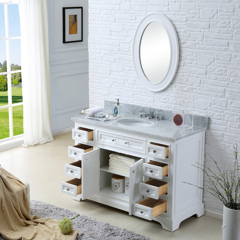Shop Water Creation Derby 48-inch Solid White Single Sink Bathroom ...