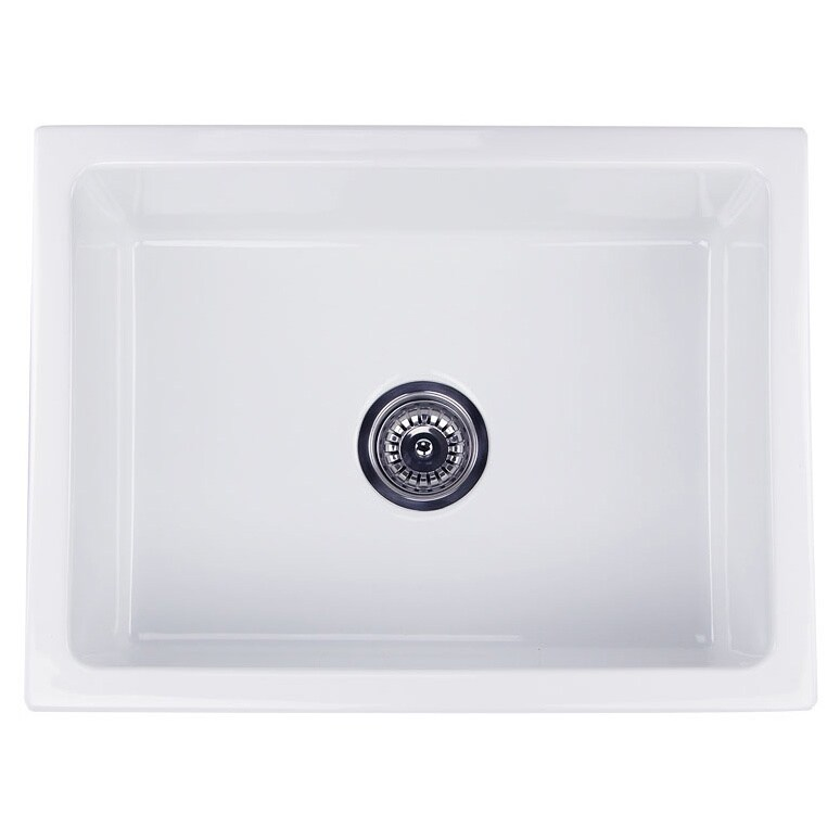 highpoint collection 24 inch single bowl reversible fireclay farmhouse kitchen sink   free shipping today   overstock com   16992646 highpoint collection 24 inch single bowl reversible fireclay      rh   overstock com