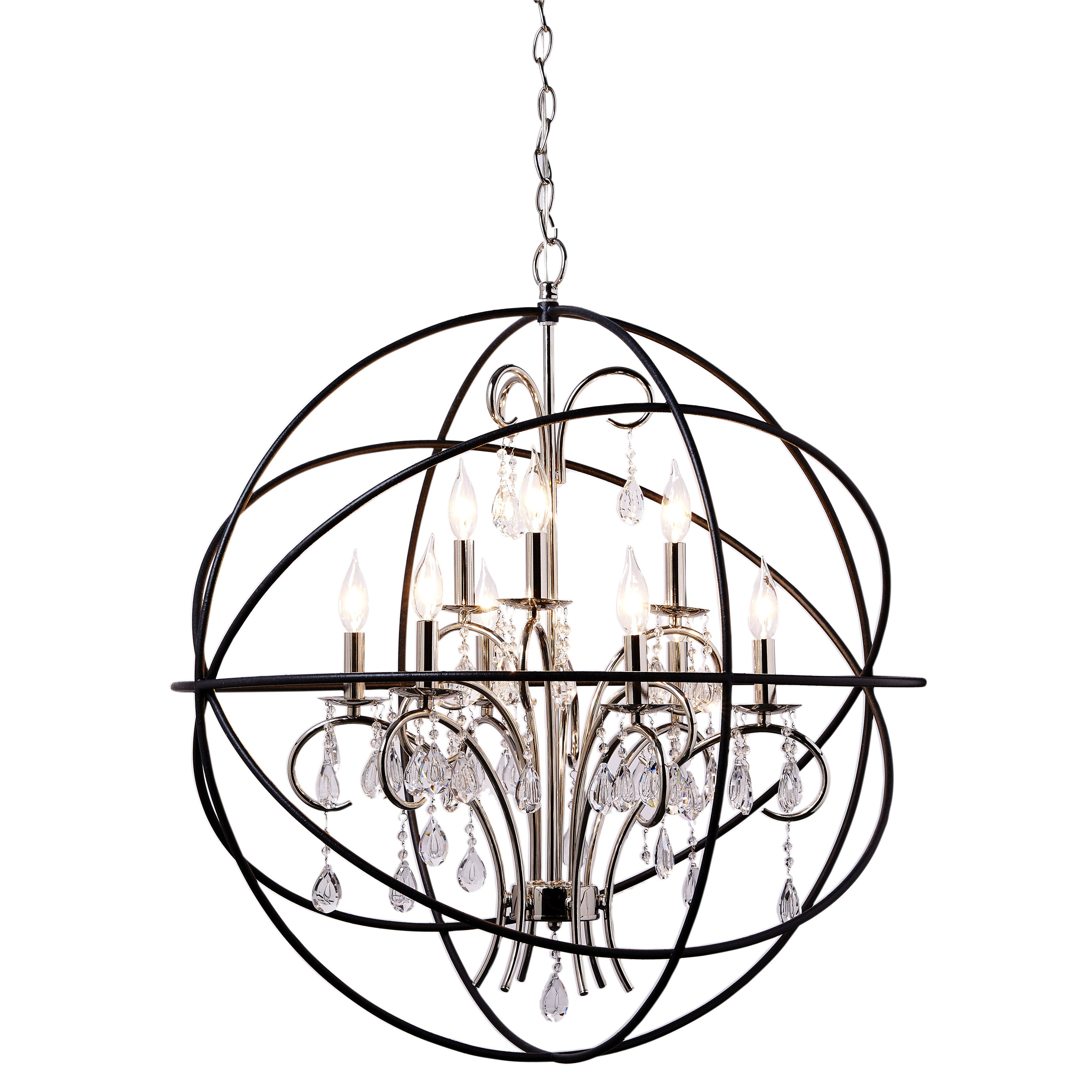 Maxim Nickel Orbit Single Tier Metal 6 light Chandelier Free